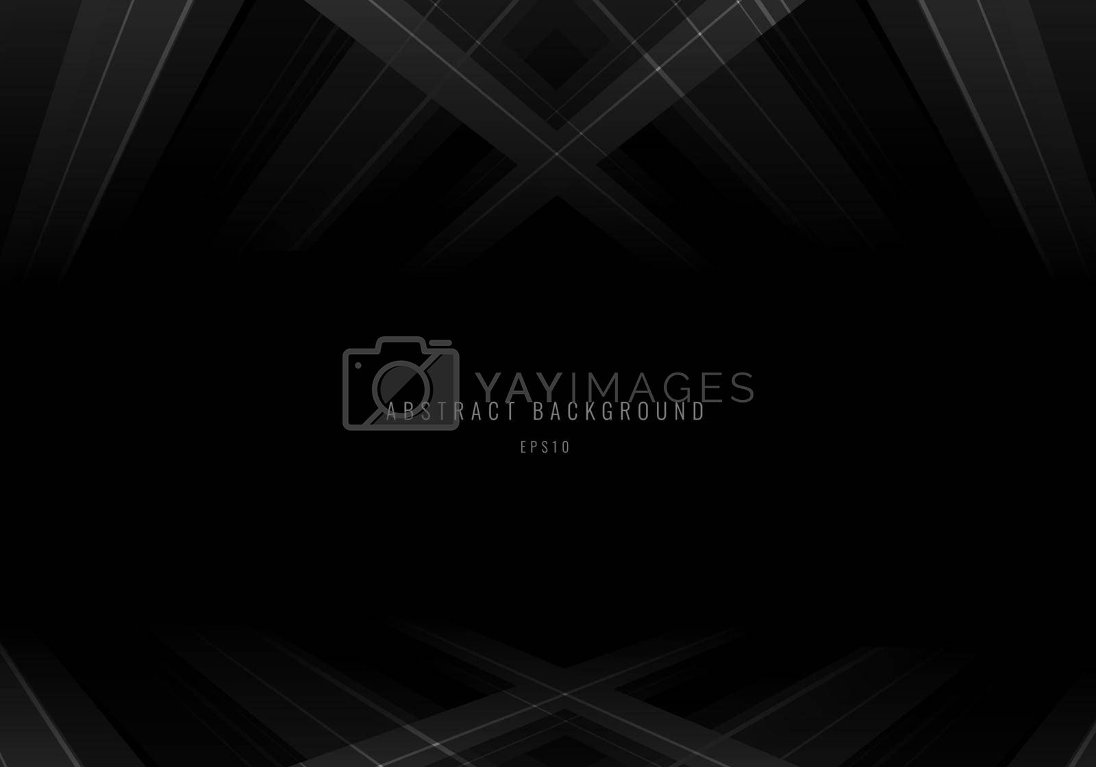 Abstract gray stripes with lines perspective on black background. Vector illustration