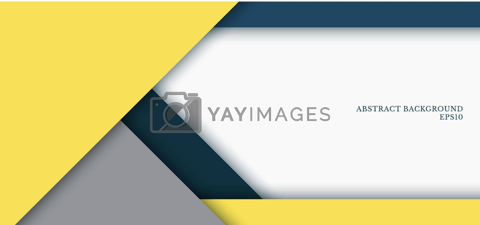 Banner web template yellow, grey, blue color trend 2021 triangle geometric overlap layer on white paper background design space for your text. Vector illustration