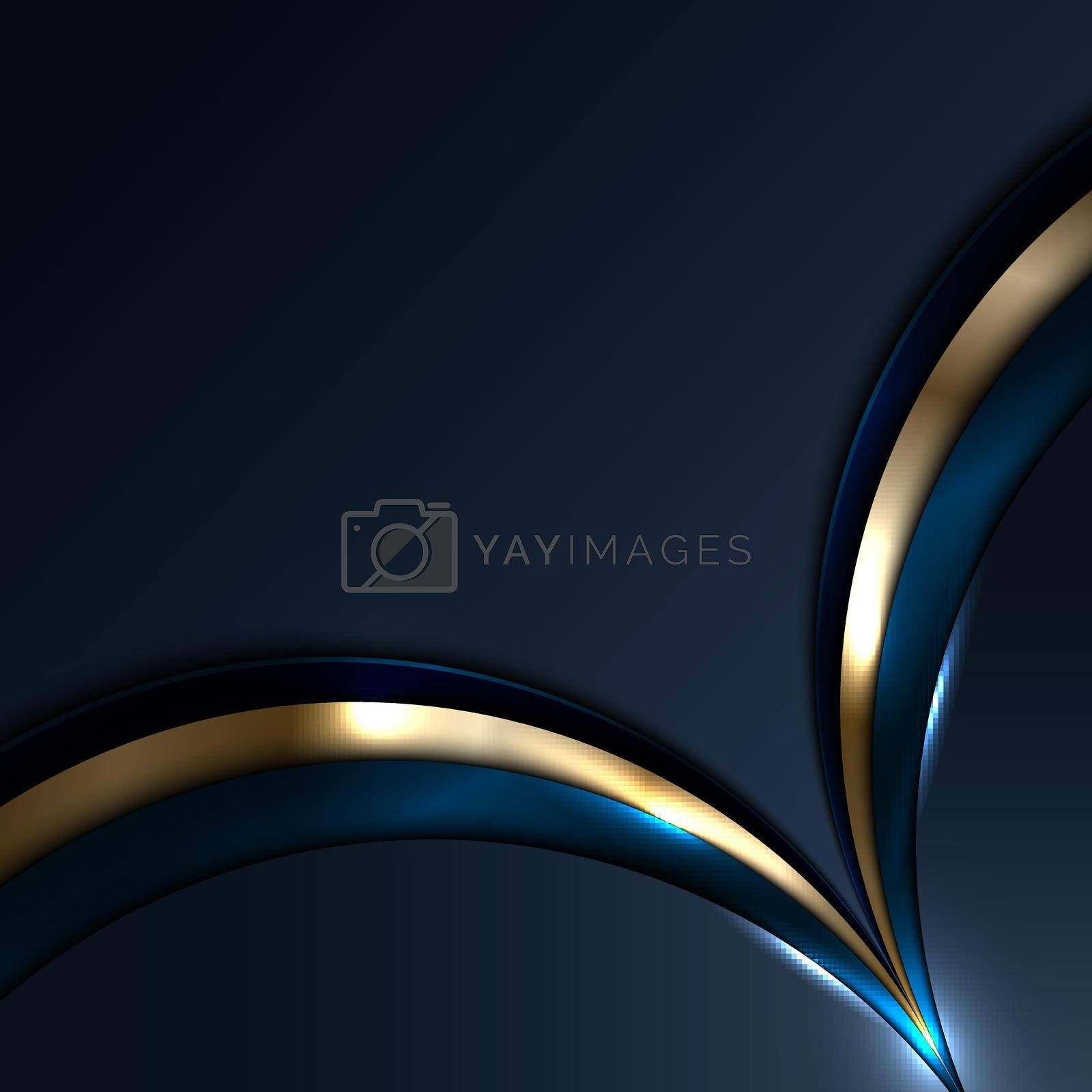 Abstract blue and gold circles overlapping layer with light and shadow on dark blue background. Luxury style. Vector illustration
