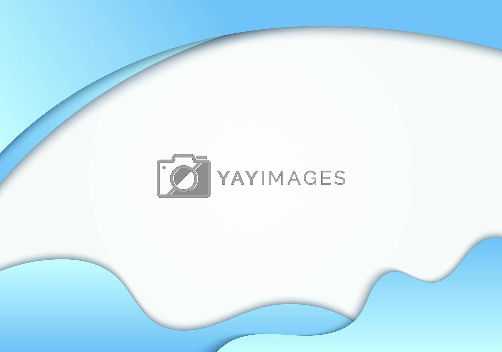 Abstract blue fluid shape with curved header on white background with space for your text. Vector illustration