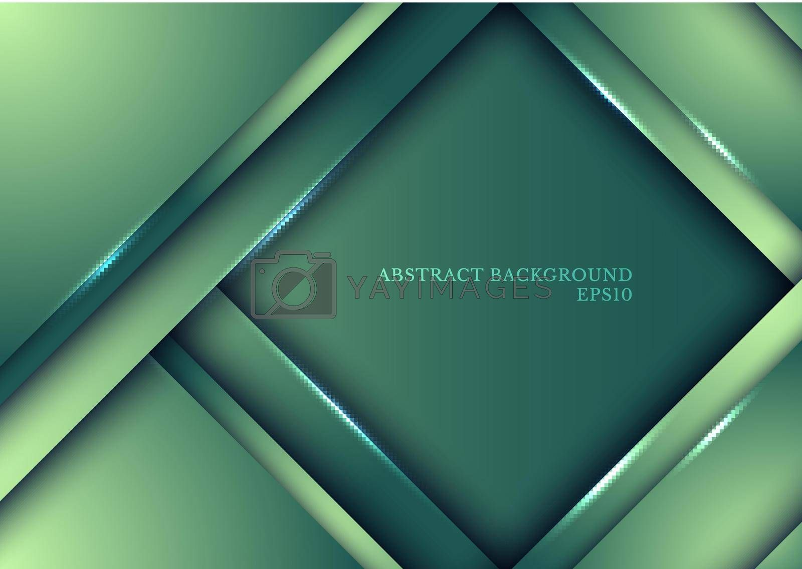 Template design abstract green nature gradient stripes overlap layer background with lighting. Vector illustration