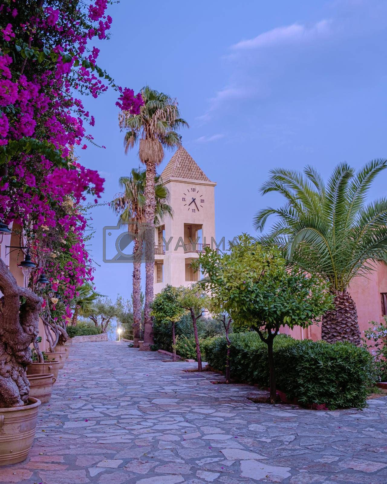 Crete Greece, Candia park village a luxury holiday village in Crete Greece by the ocean in traditional colors. Luxury holiday resort with pool