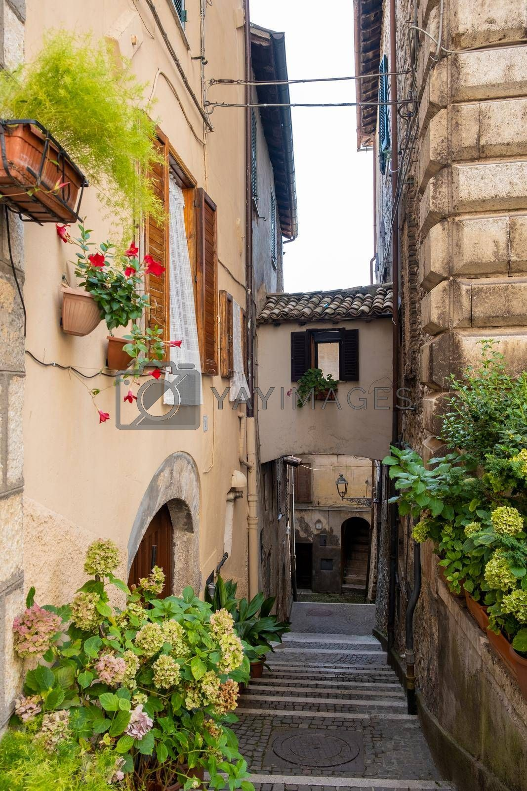 Overview of Fiuggi in Italy, Scenic sight in Fiuggi, province of Frosinone, Lazio, central Italy. Europe September 2020