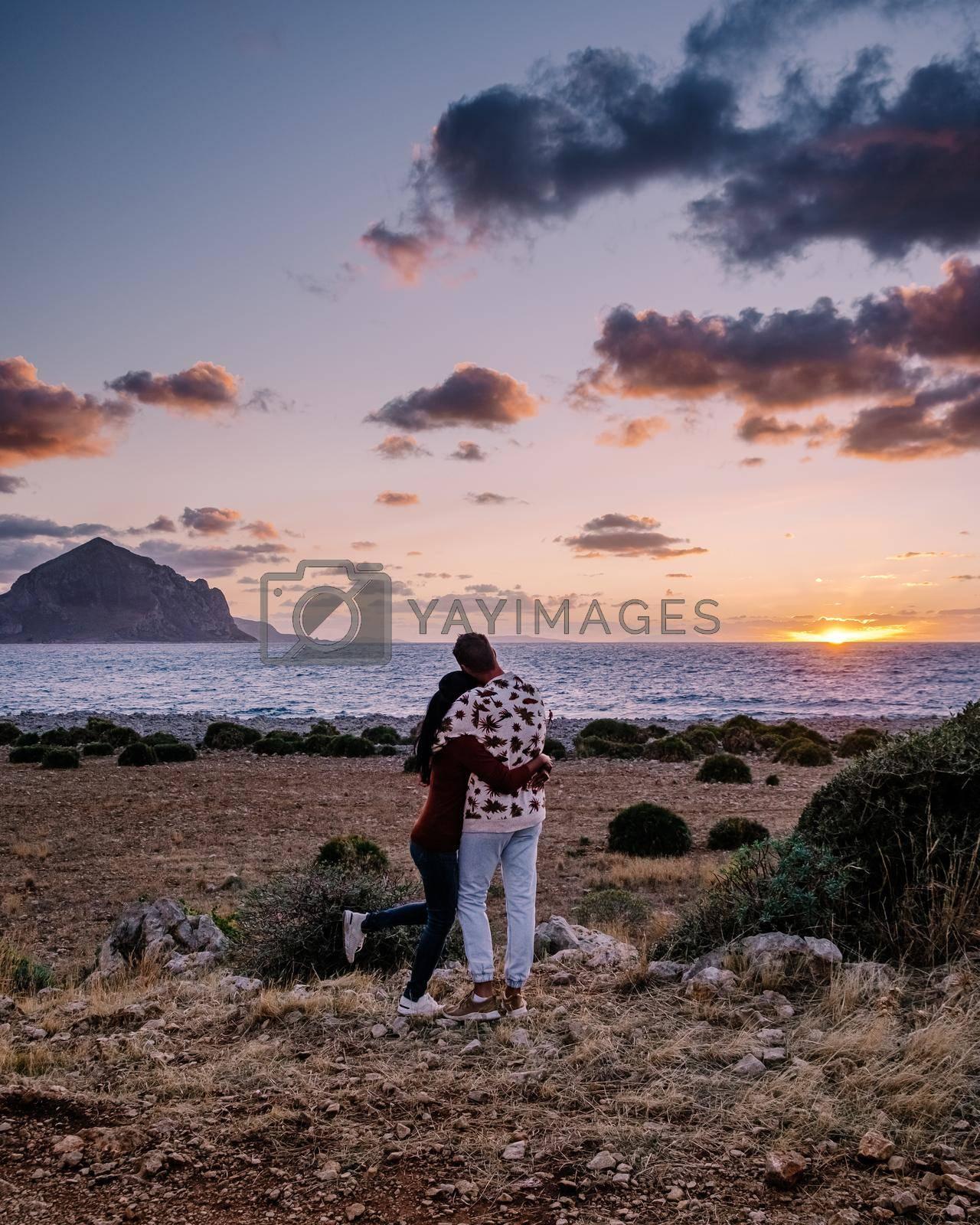 San Vito Lo Capo Sicily, San Vito lo Capo beach and Monte Monaco in background, north-western Sicily. cliffs and rocky coastline in Sicily