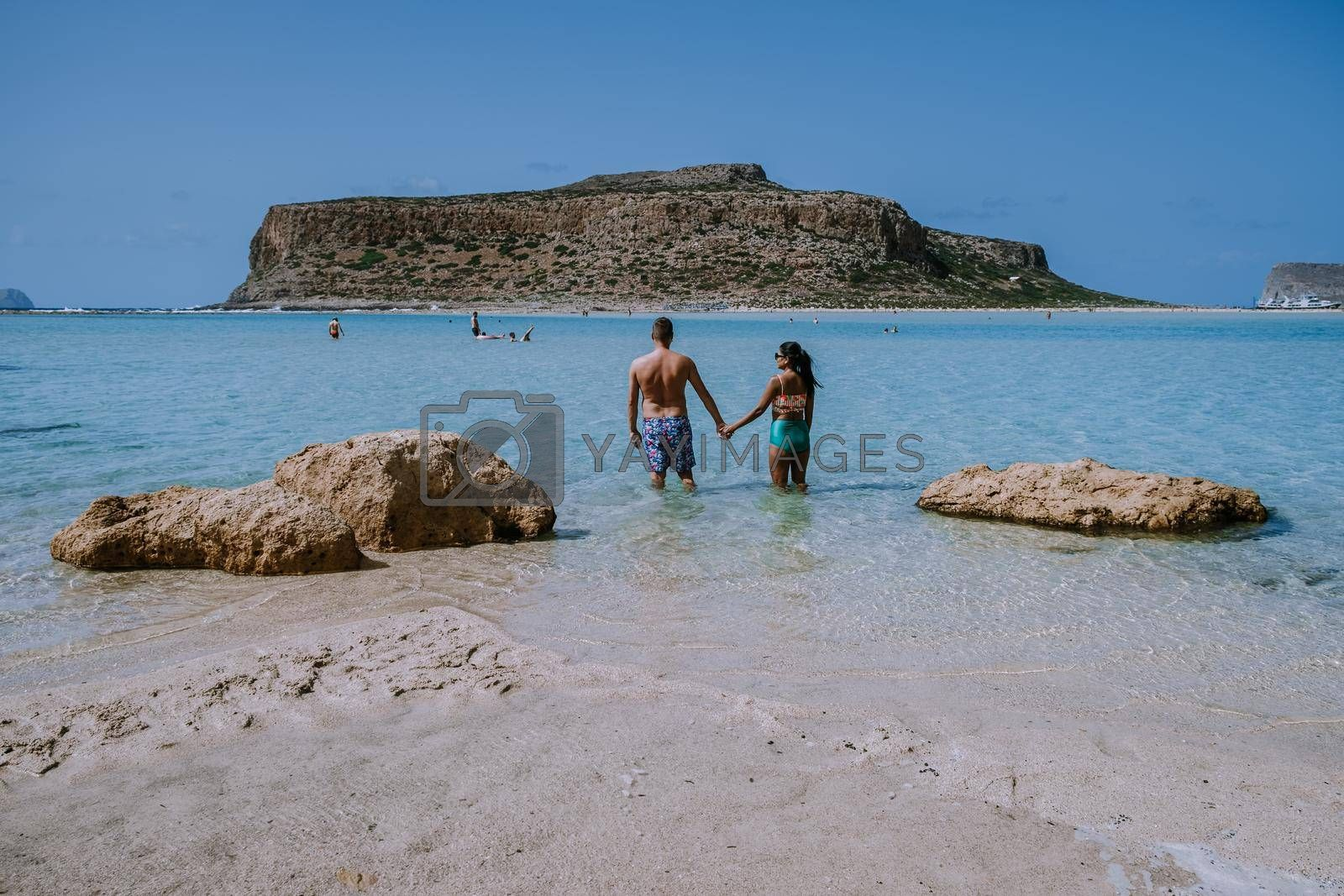 Balos Beach Cret Greece, Balos beach is on of the most beautiful beaches in Greece at the Greek Island couple visit the beach during vacation holiday in Greece