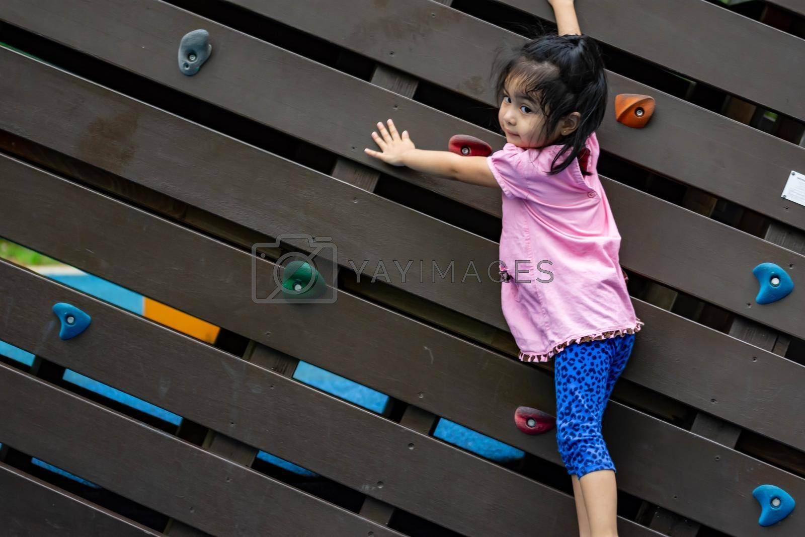 Pretty asian little girls while climbing in a playground