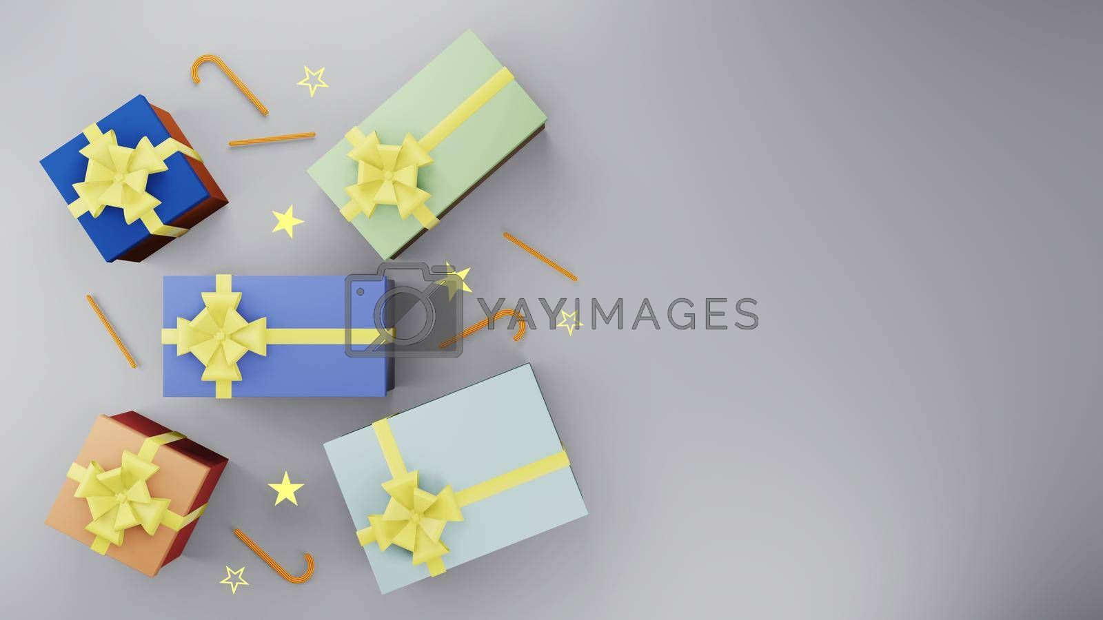 Royalty free image of Colorful gift box with golden ribbon and gold star by eaglesky