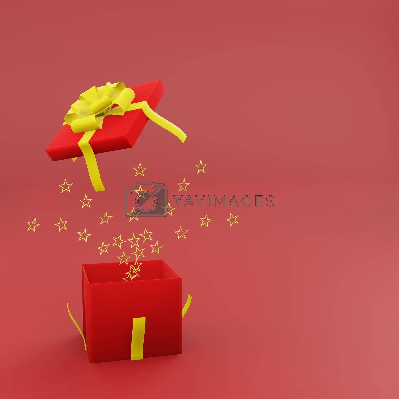 Royalty free image of Open red gift box with golden ribbon and spread star by eaglesky
