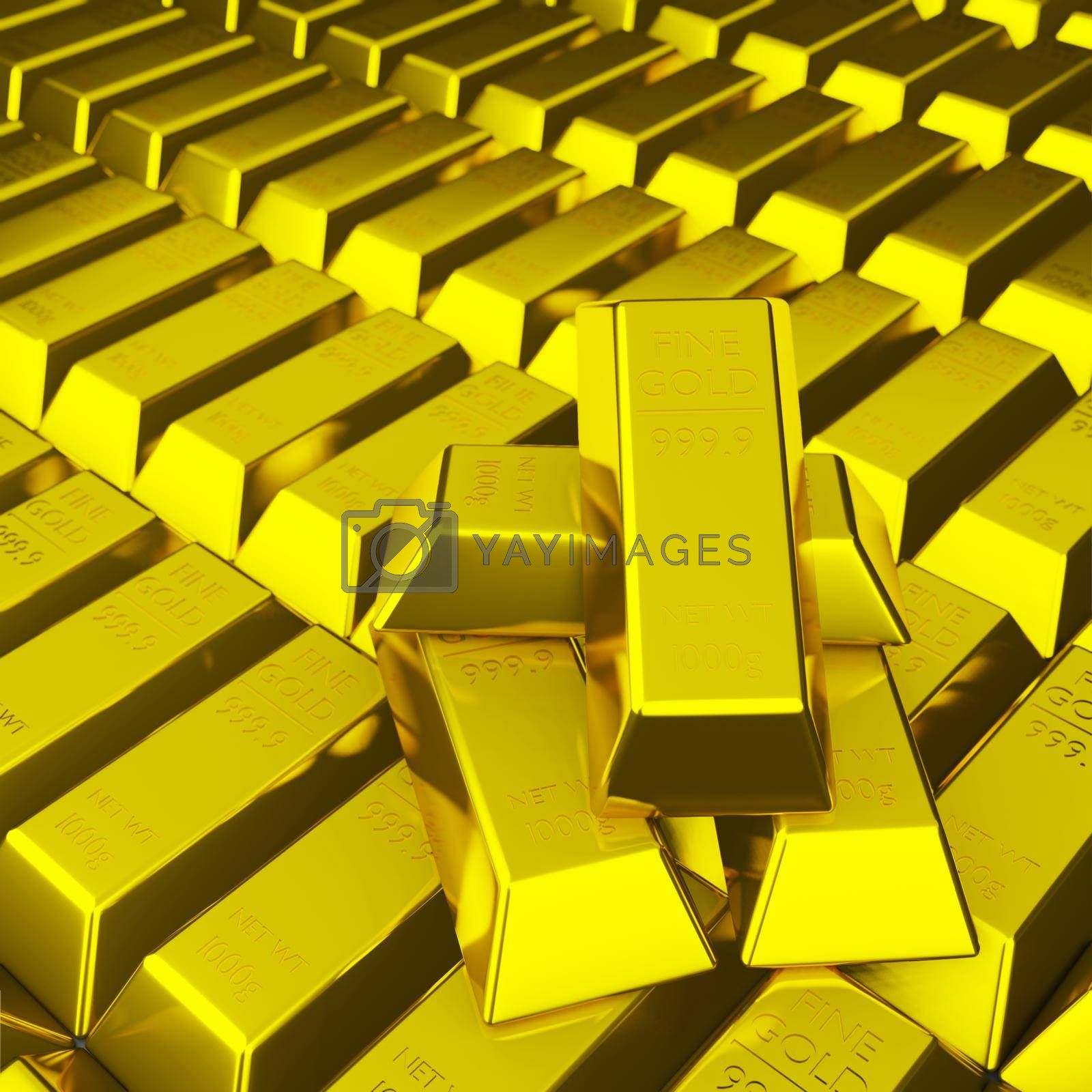 Royalty free image of Pile of fine gold bar 999.9 g by eaglesky