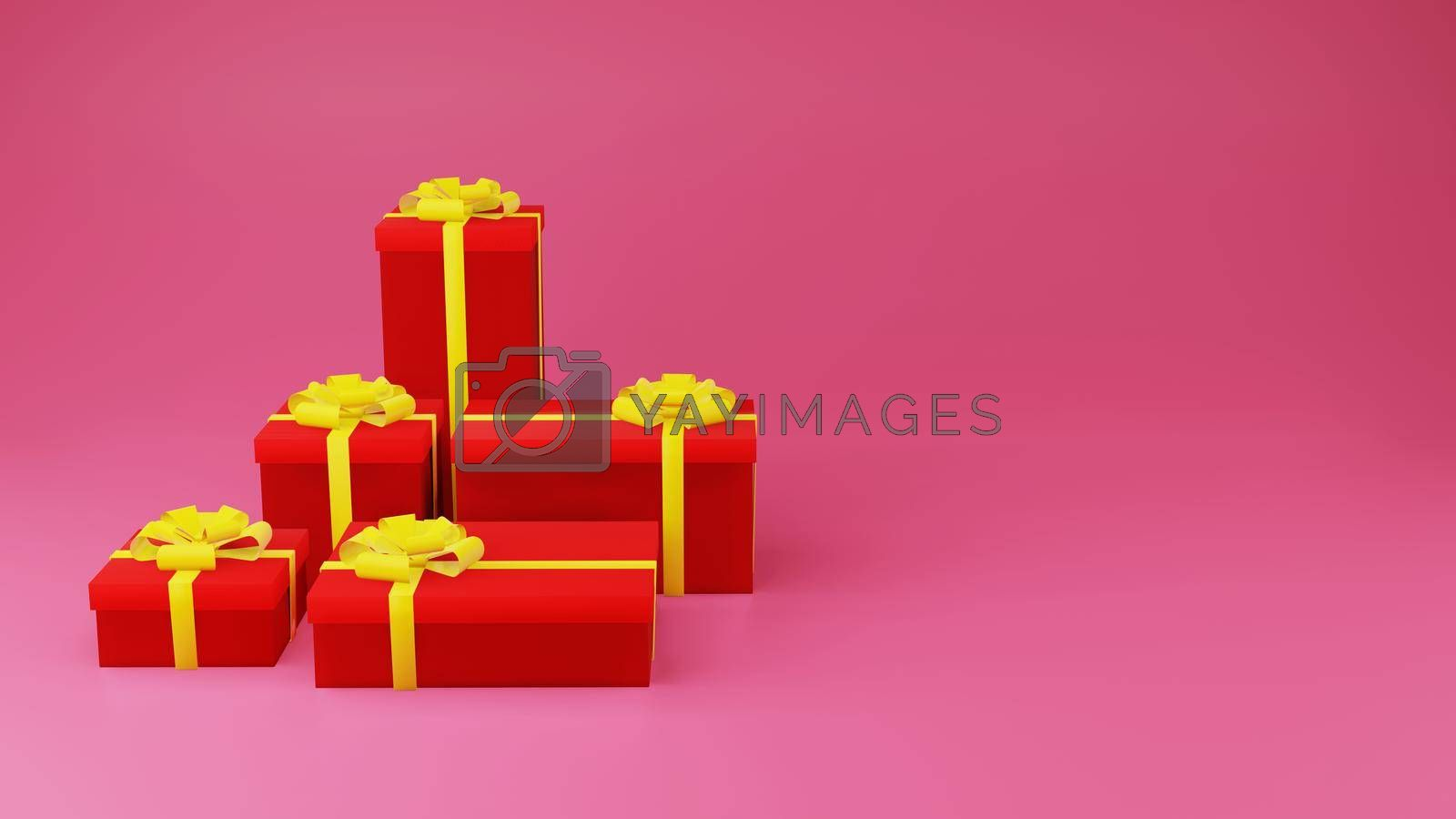 Royalty free image of Red gift box with golden ribbon on pink background by eaglesky