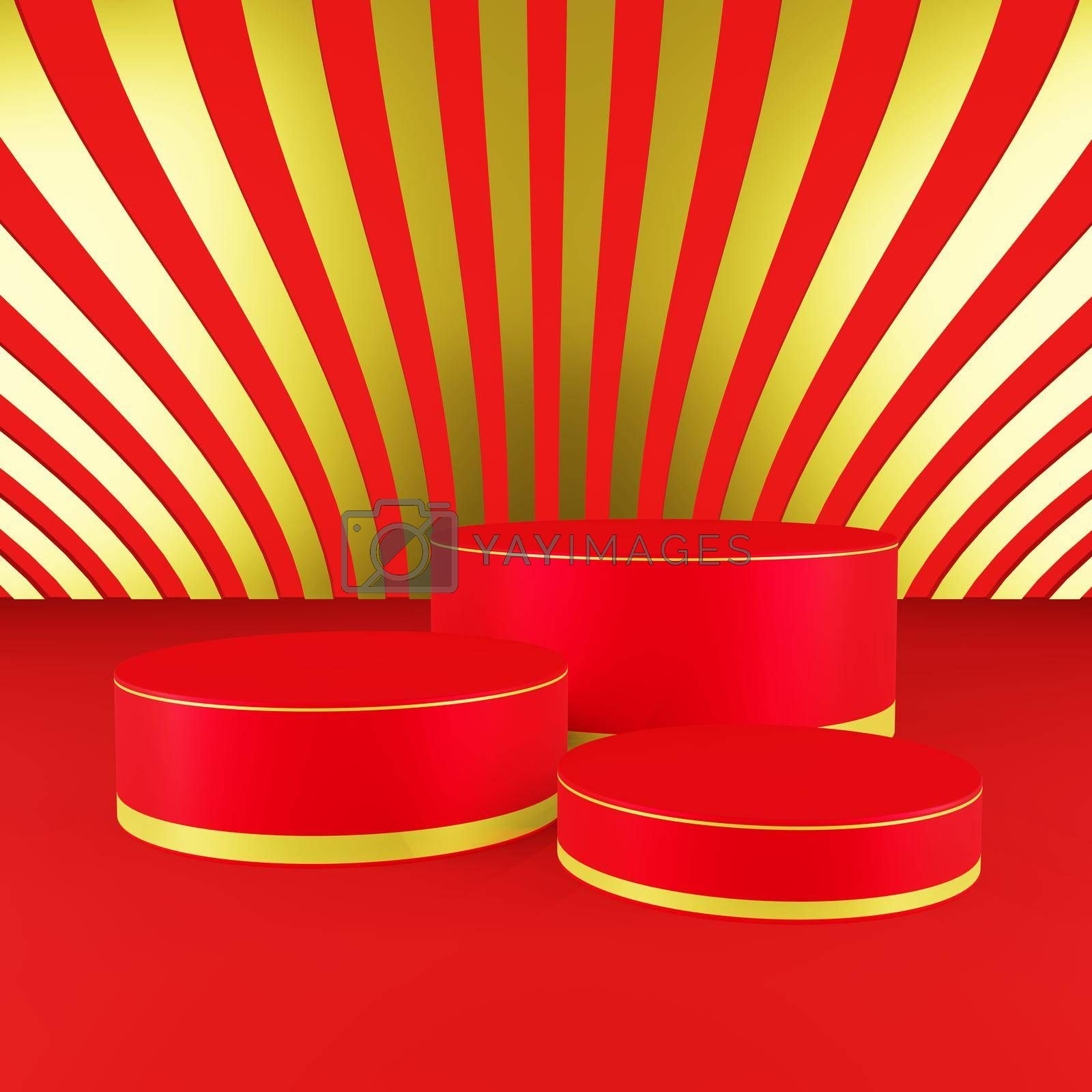 Royalty free image of Red cylinder podium with golden girdle Chinese new year season by eaglesky