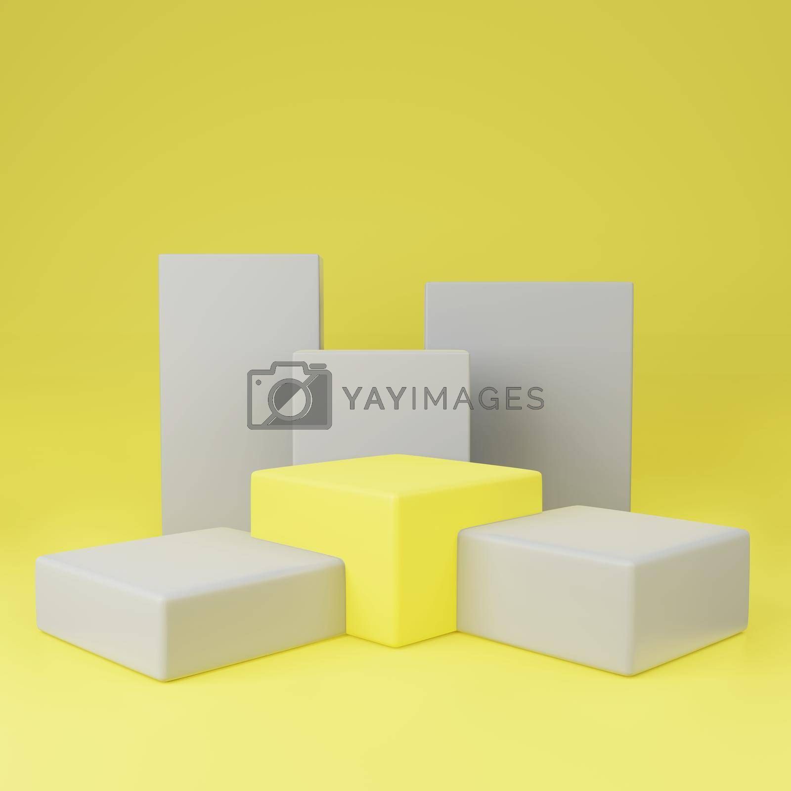 Royalty free image of Yellow cube podium between gray on yellow background copy space by eaglesky