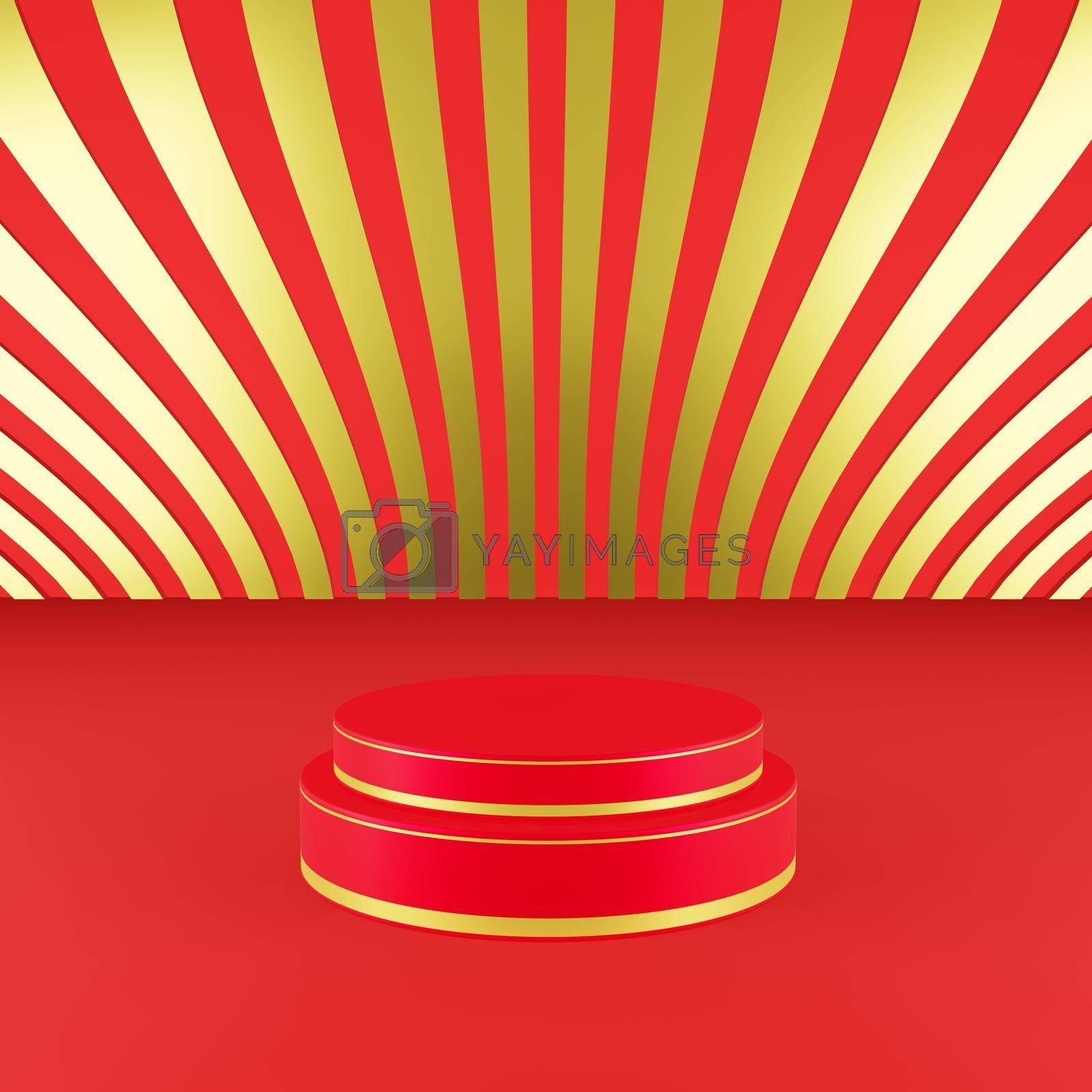 Royalty free image of Red podium with golden girdle Chinese new year season concept by eaglesky