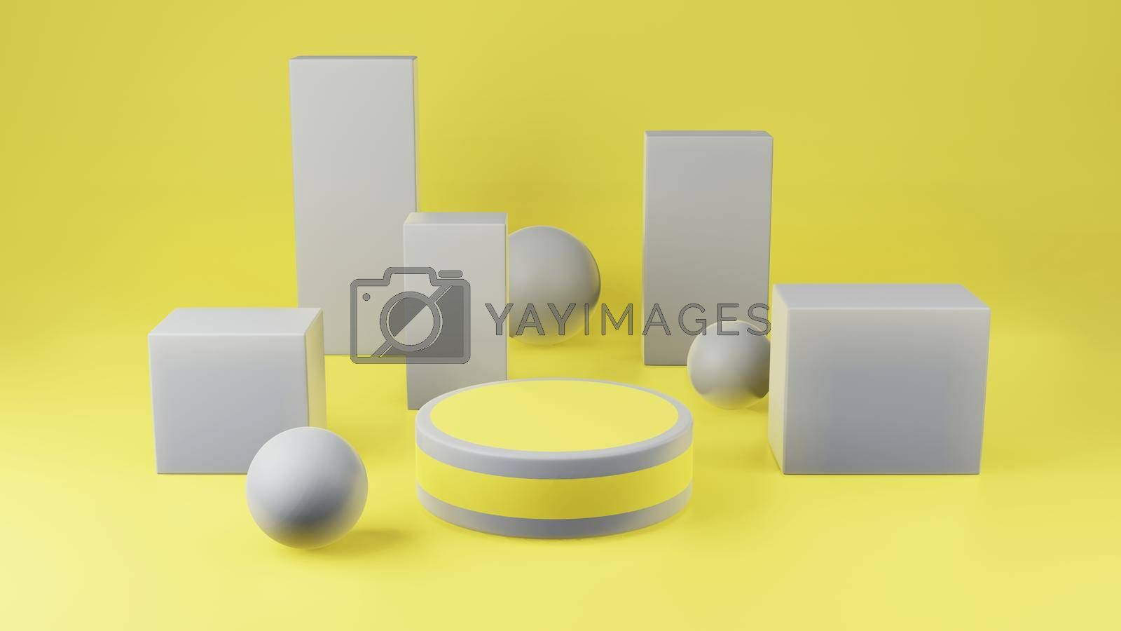 Royalty free image of Yellow cylinder podium with gray girdle on yellow background by eaglesky