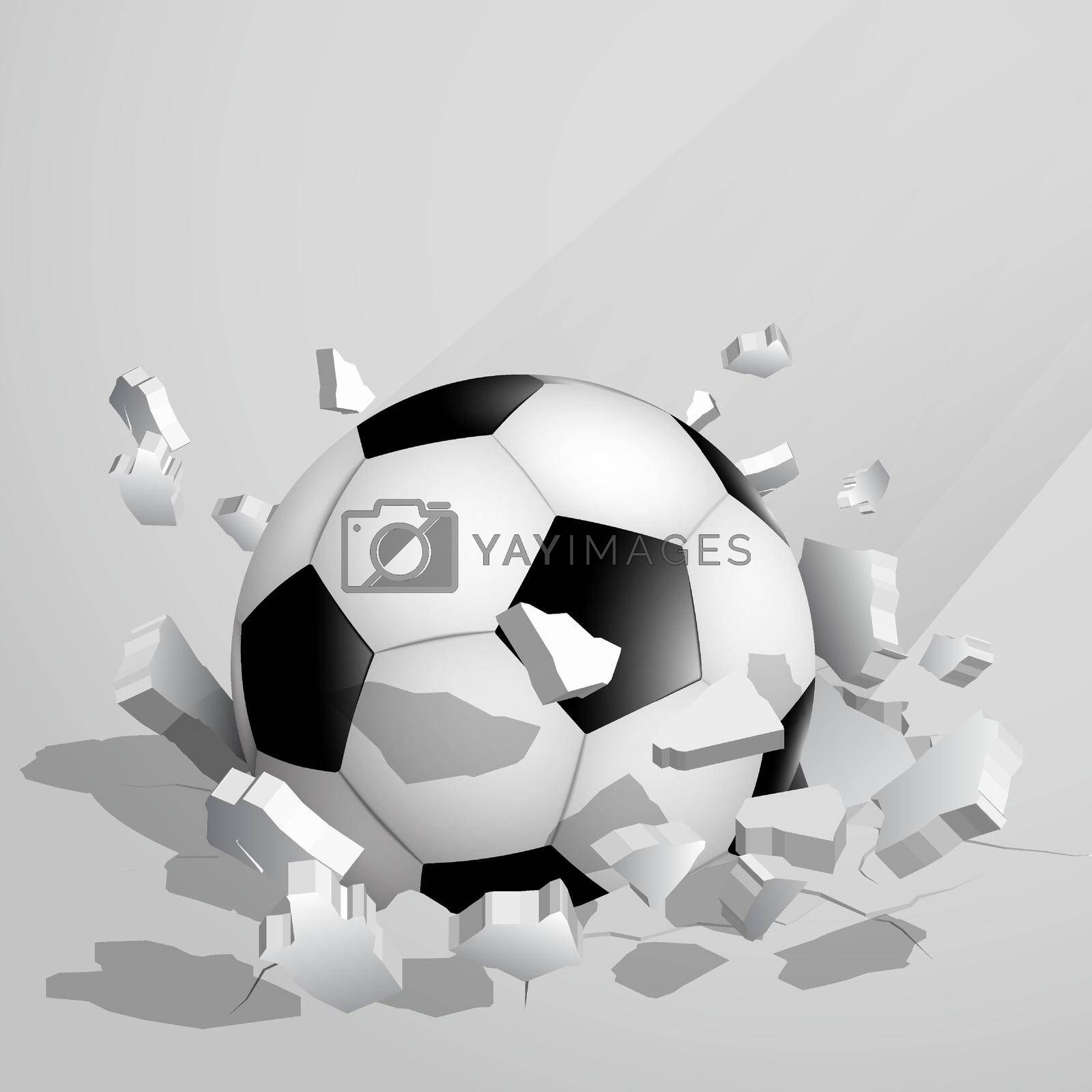 sport soccer ball crashed into the ground at high speed and breaks into shards, cracks. Inflicting heavy damage. Vector