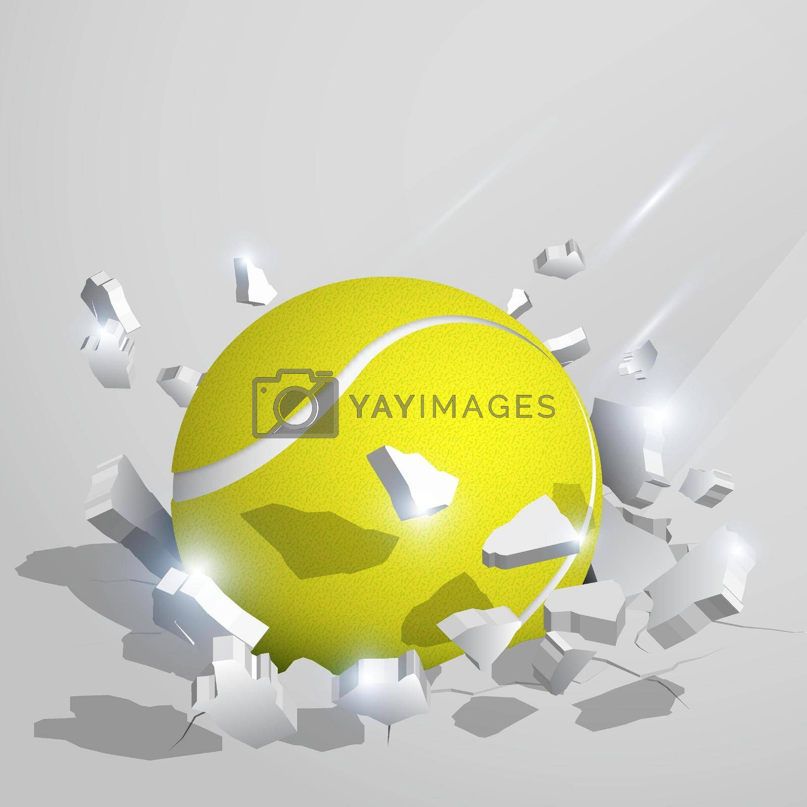 sport tennis ball crashed into the ground at high speed and breaks into shards, cracks. Inflicting heavy damage. Vector