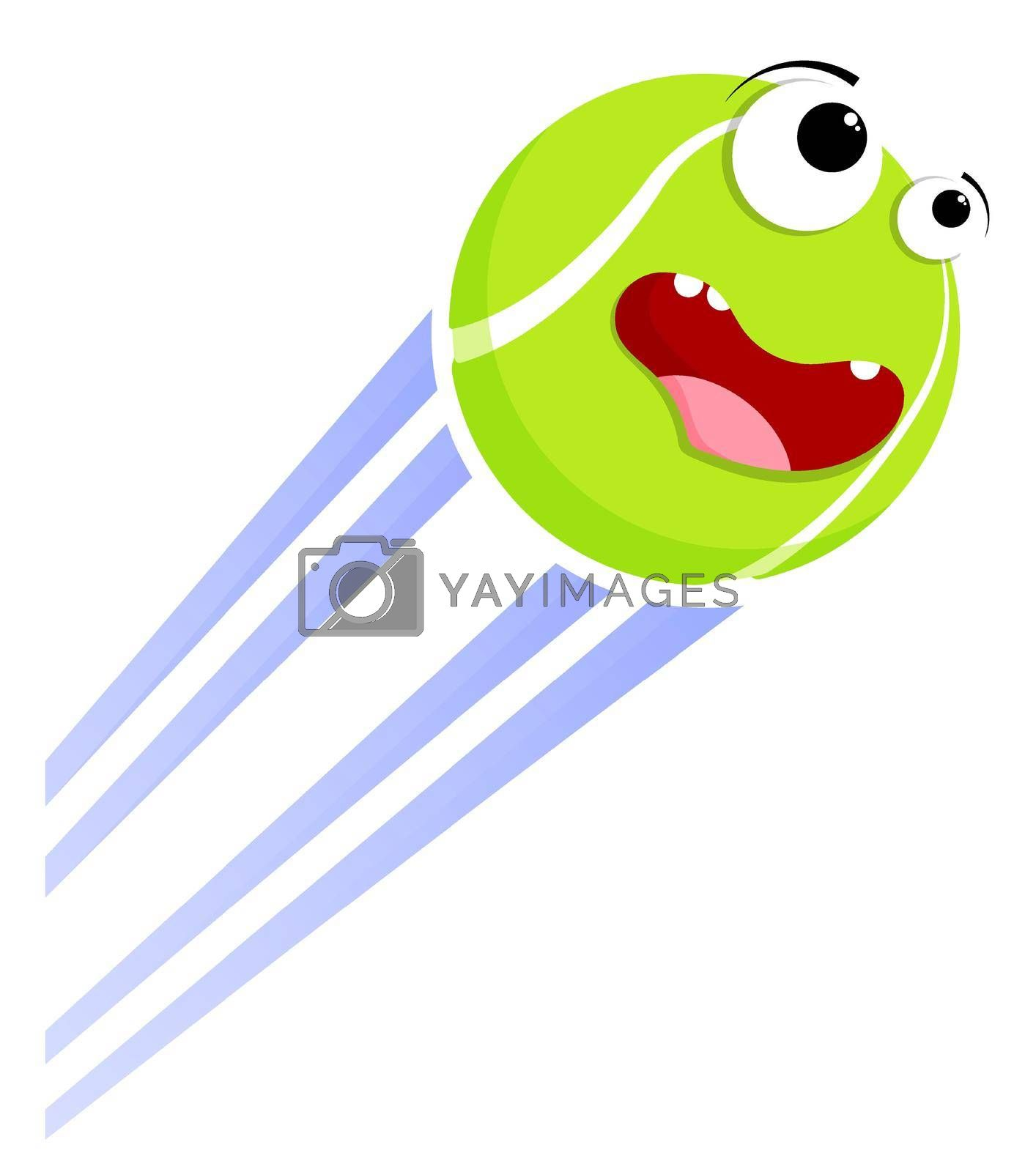 Loud funny crazy tennis ball flies with great speed after great hit. Sport equipment. Vector