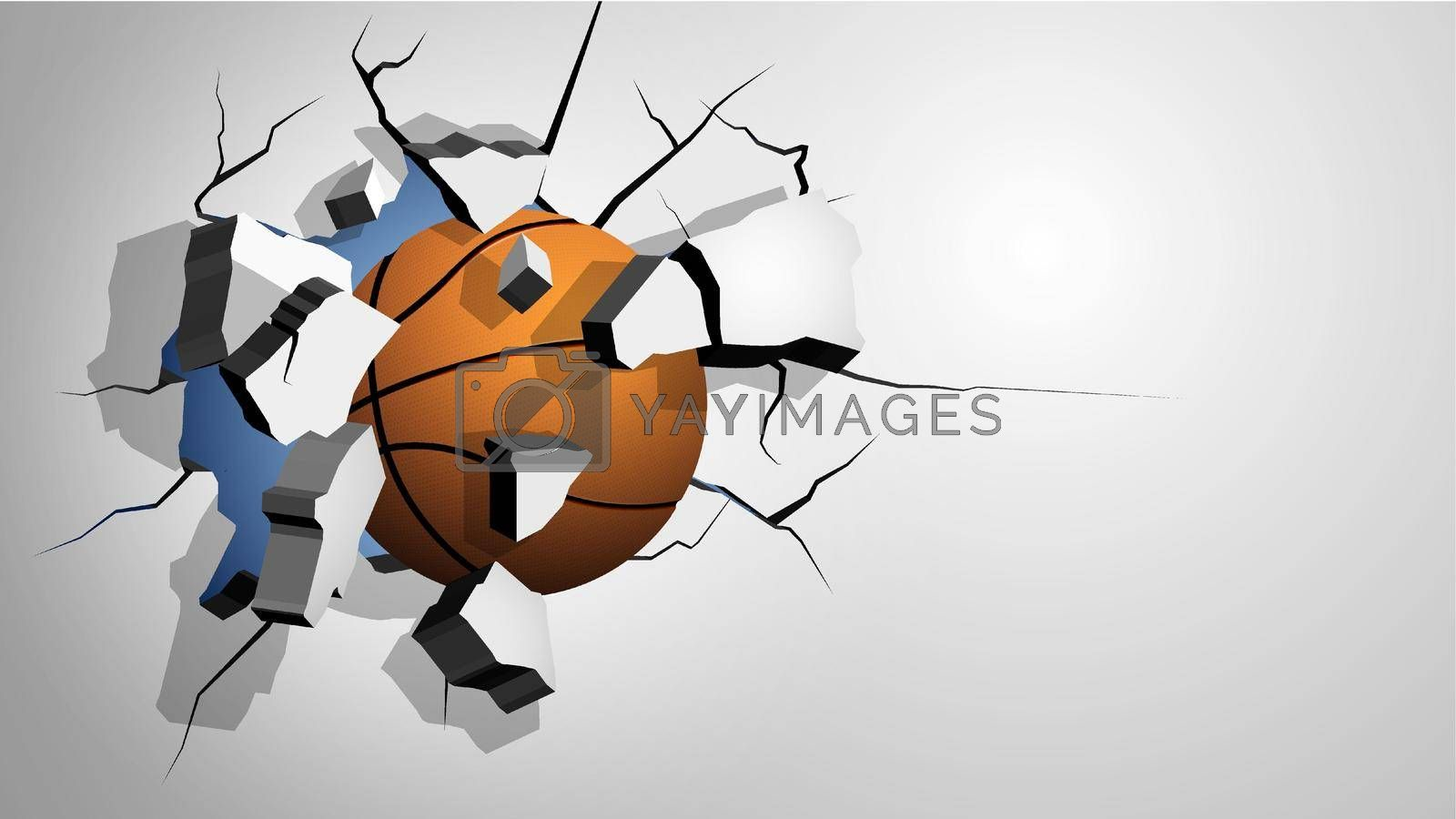 orange basketball ball punched through the wall and breaks into shards, cracks on wall. Inflicting heavy damage. Vector