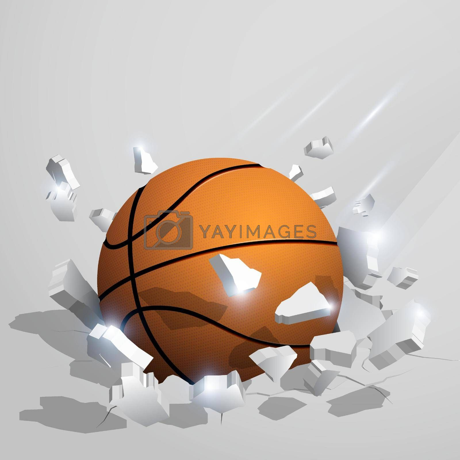 sport orange ball for basketball crashed into the ground at high speed and breaks into shards, cracks after perfect hit. Inflicting heavy damage. Vector