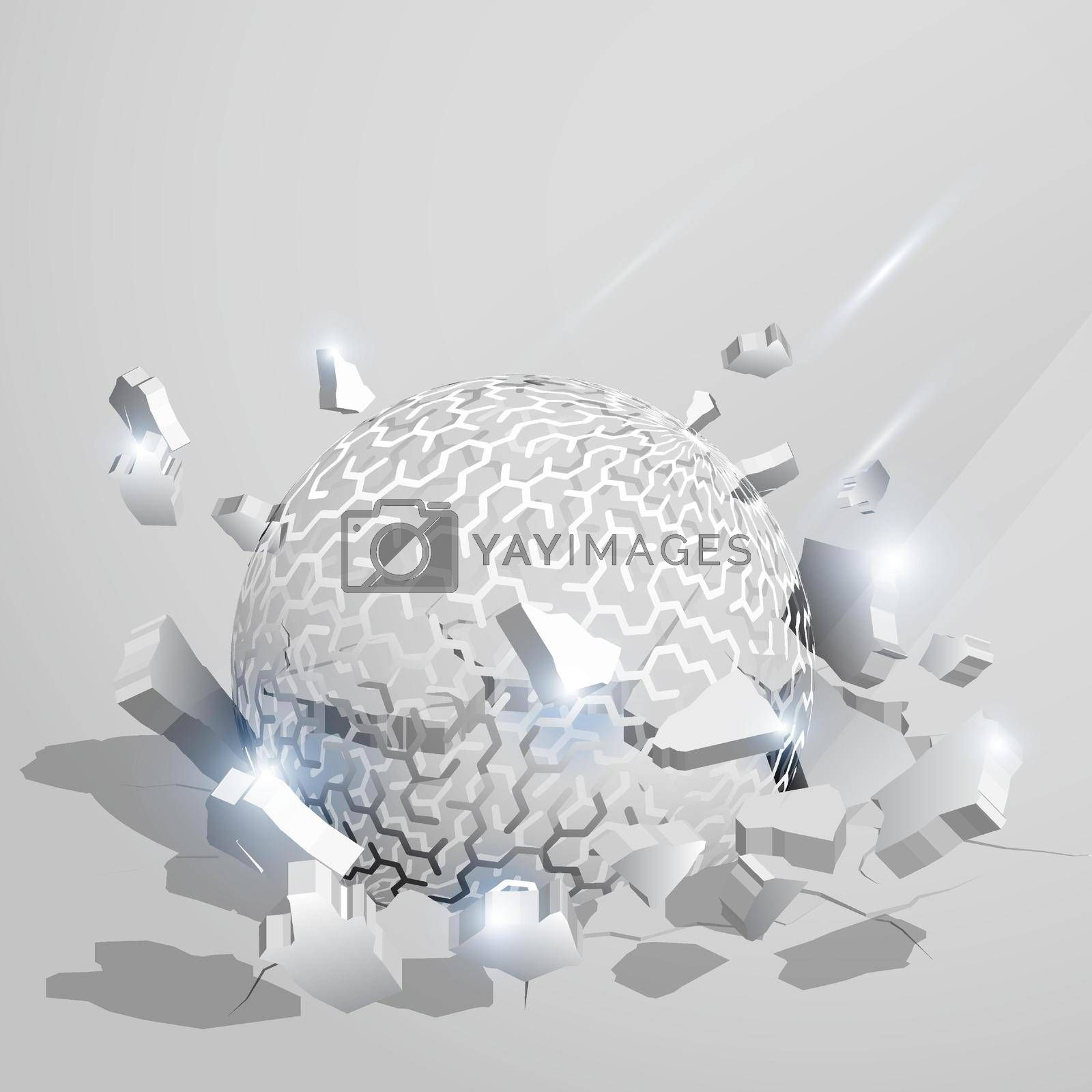 ball, orb with pattern of mazes crashed into the ground at high speed and breaks into shards, cracks. Inflicting heavy damage. Vector