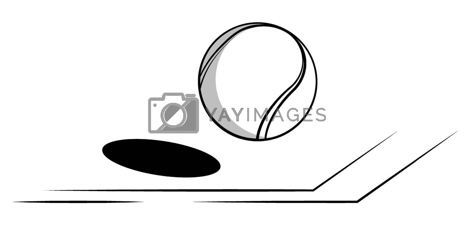 tennis ball flies in line of court. World tennis tournament. Sport equipment. Background for design sport competitions. Black and white contrast vector