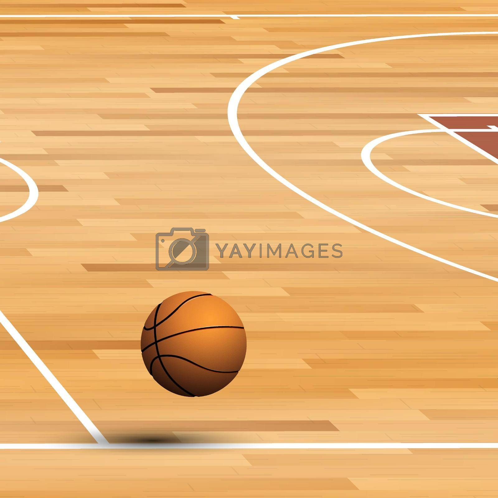realistic ball for basketball flies in line of wooden parquet court. World tournament. Sport equipment. Background for design sport competitions. Vector