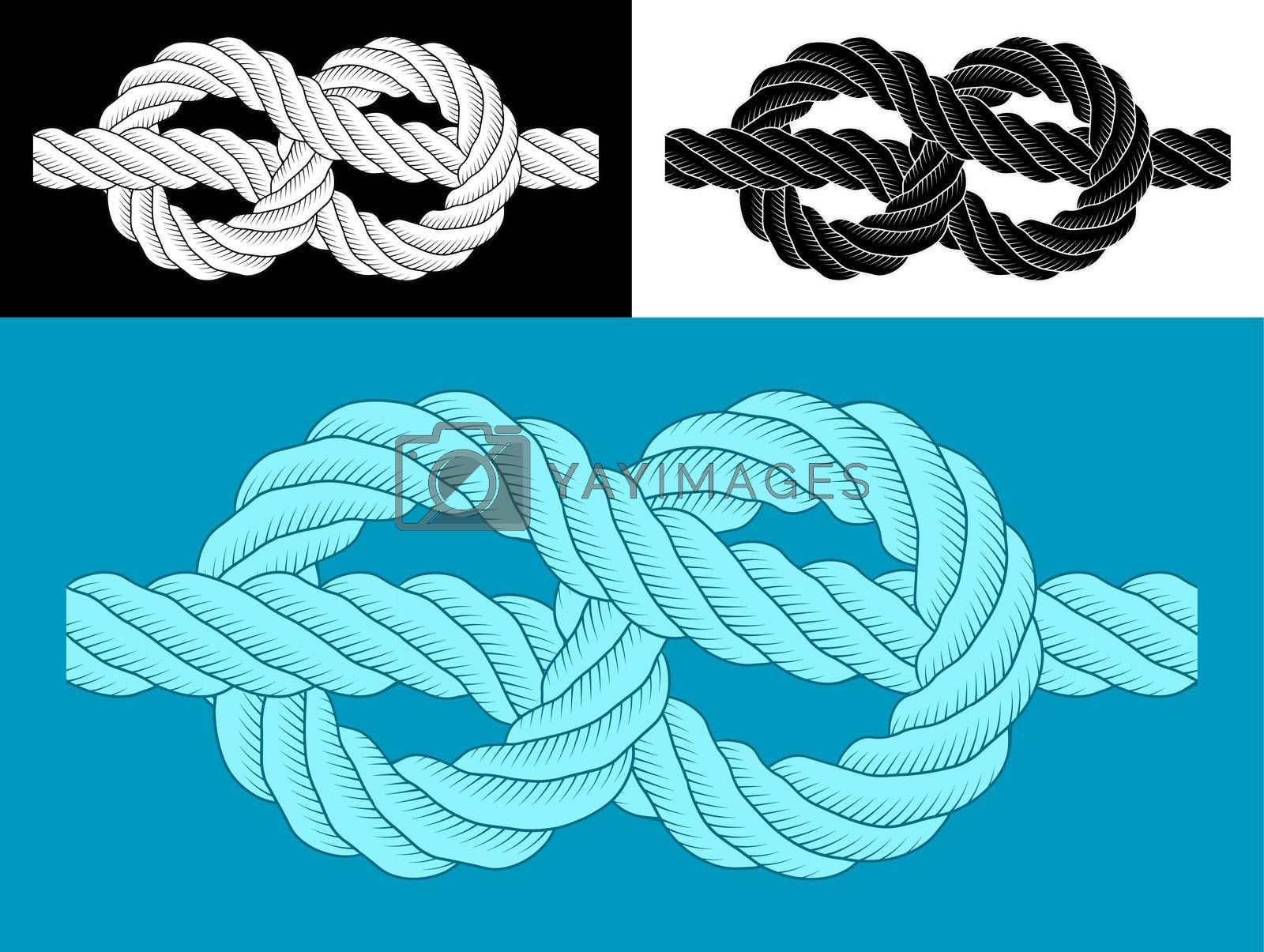 rope sea knot emblem. Rope for fastening on ships. Element for design and decoration. Vector