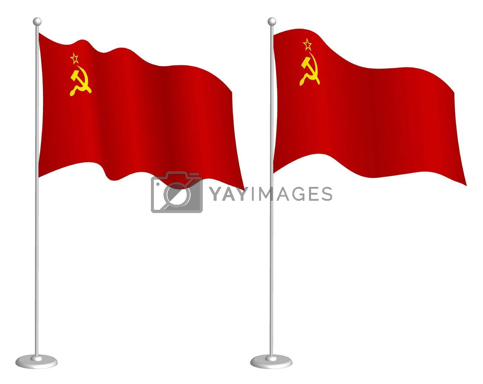 Soviet Union flag, USSR on flagpole waving in wind. Holiday design element. Checkpoint for map symbols. Isolated vector on white background