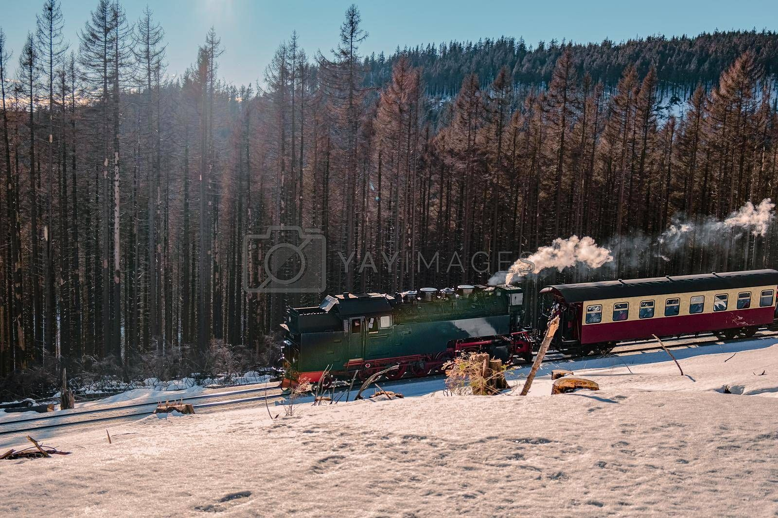 Harz national park Germany, Steam train on the way to Brocken through winter landscape, Famous steam train throught the winter mountain . Brocken, Harz National Park Mountains in Germany by fokkebok