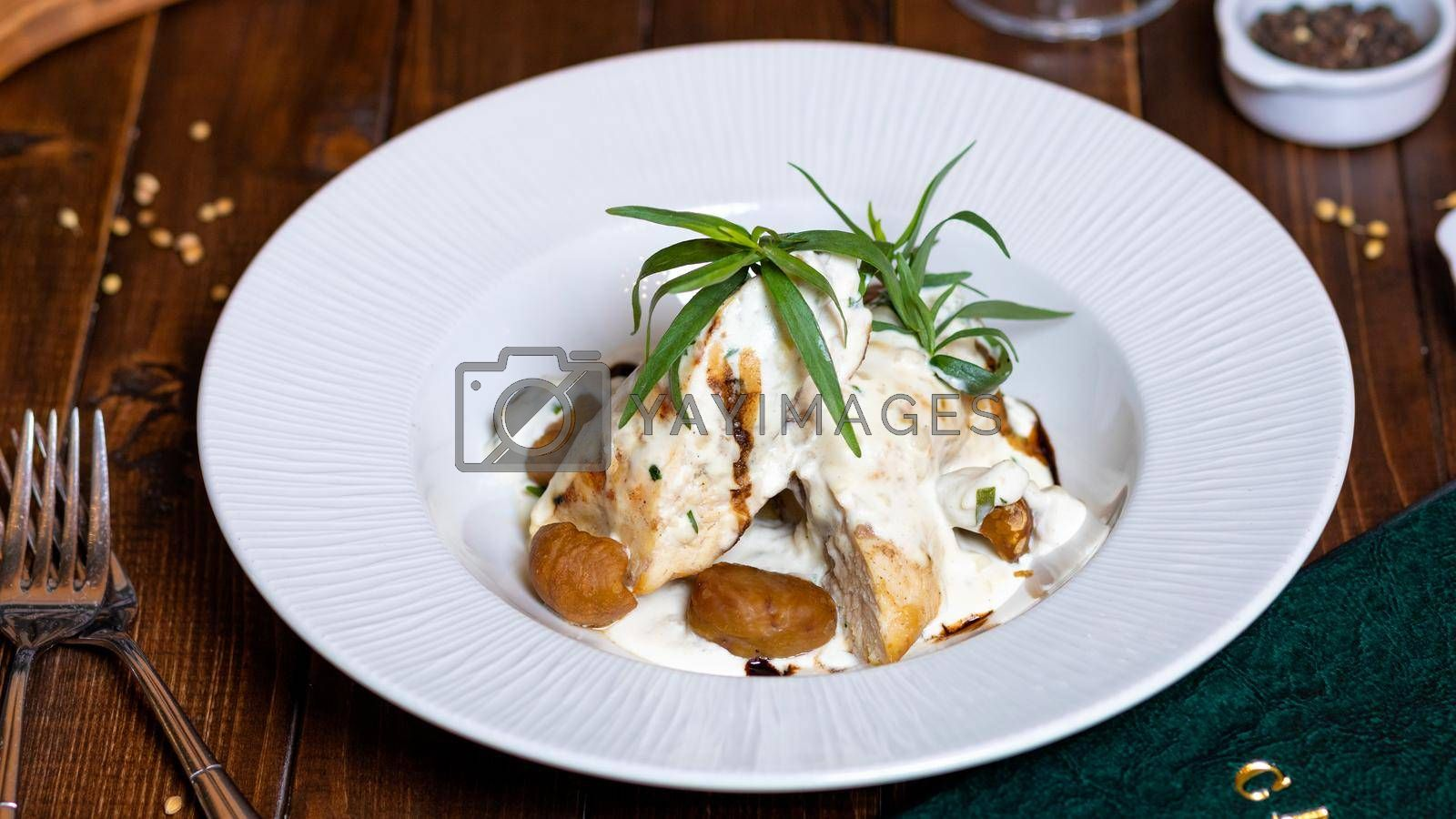 Potato, chicken meal with mayonnaise sauce close up