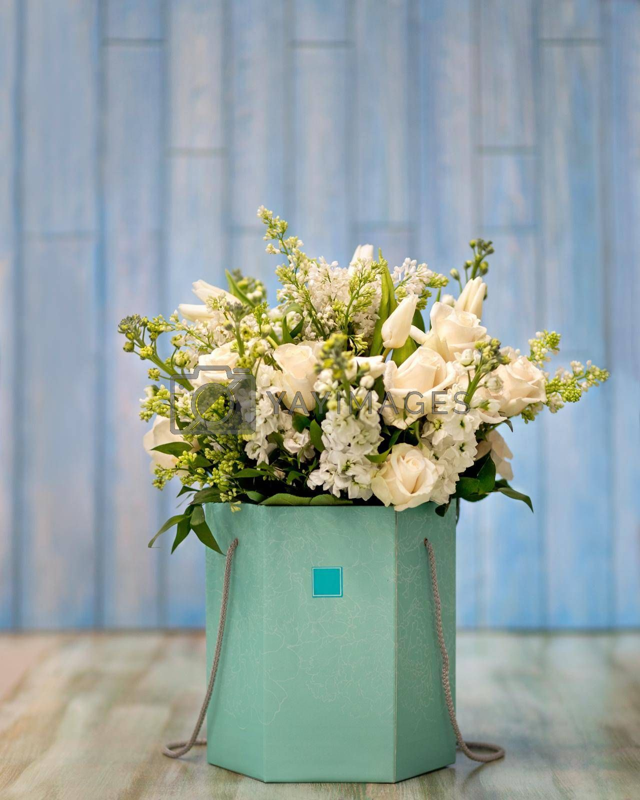 Beautiful white flower bouquet in the box