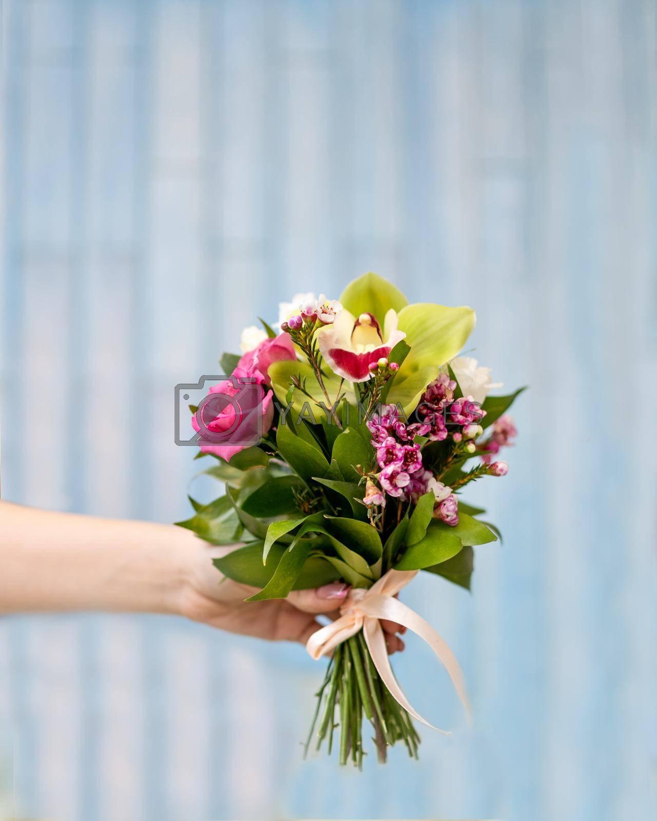 Pink flower bouquet close up
