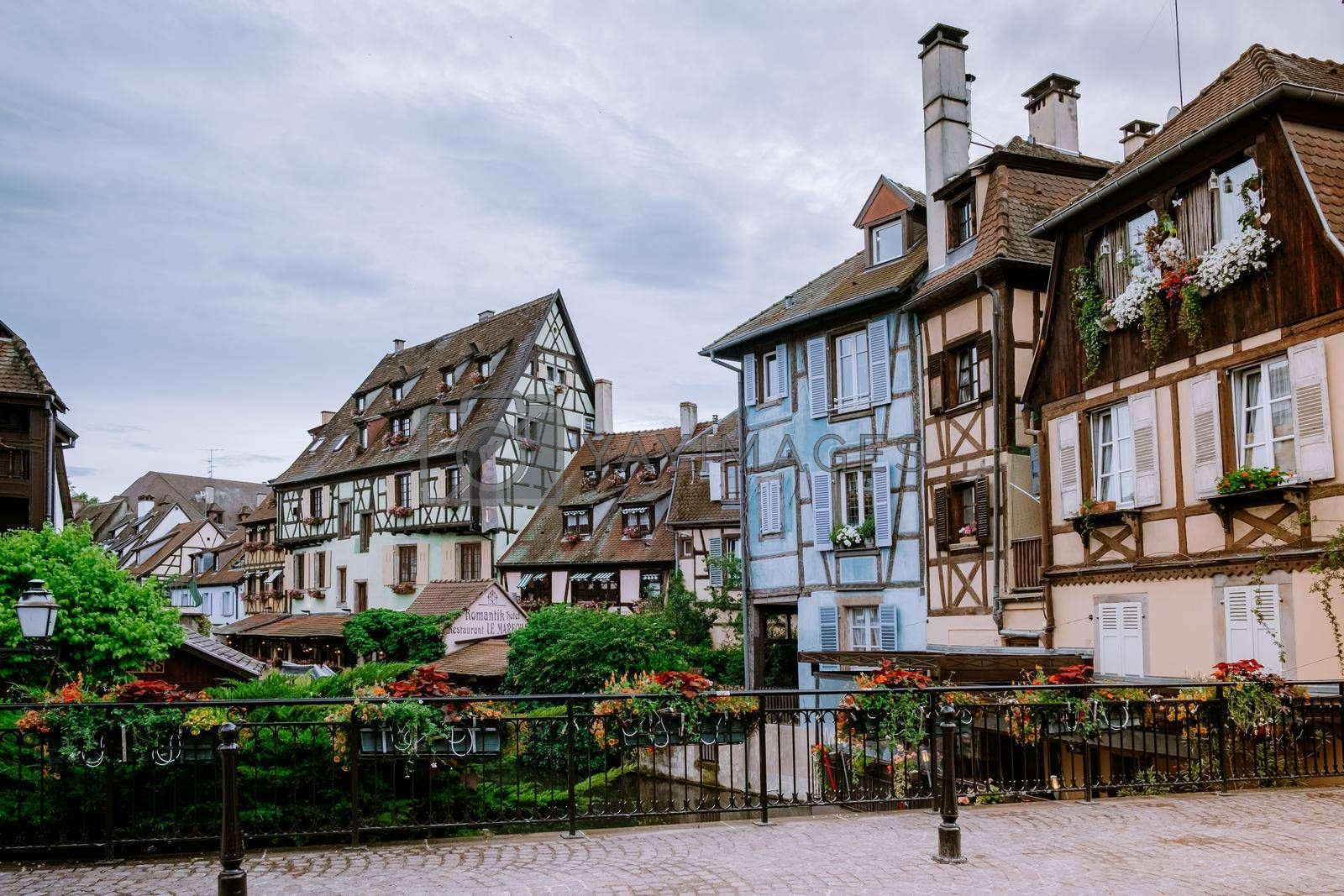 Colmar, Alsace, France. Petite Venice, water canal and traditional half timbered houses. Colmar is a charming town in Alsace, France. Beautiful view of colorful romantic city Colmar