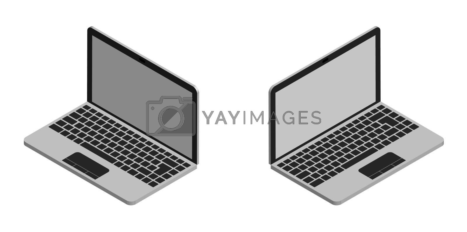 isometric, portable notebook in open form. Modern technology. Isolated vector on white background