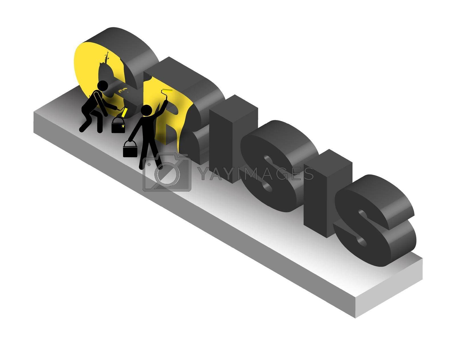 Isometric, workers by rollers paint the gloomy word Crisis in yellow. Fighting bad mood and depression. Funny illustration. Vector on a white background