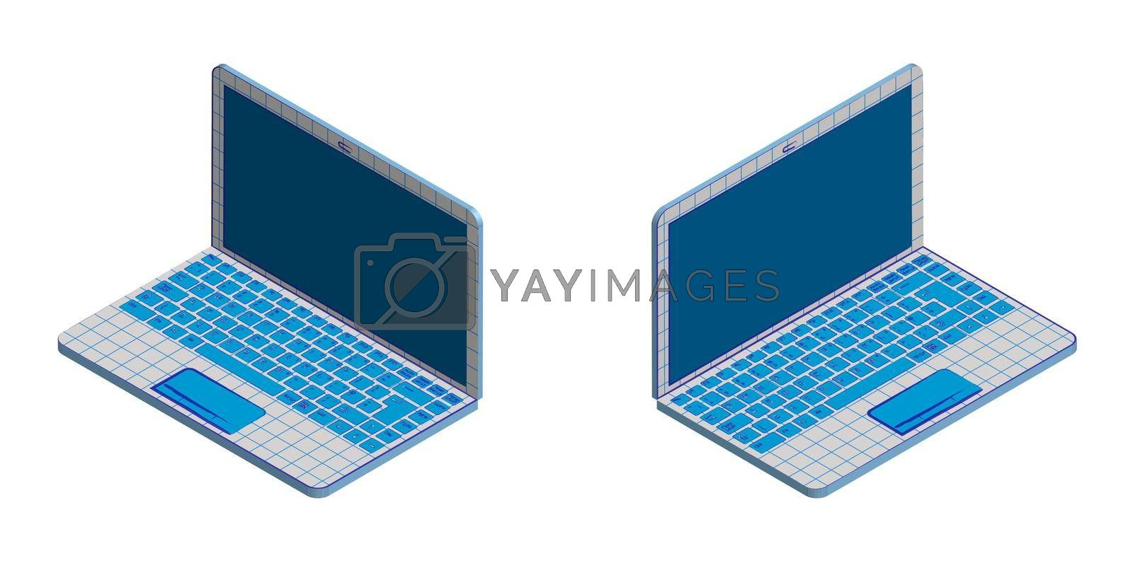 Isometric, portable laptop in an original style. Squared school notebook with imitation ink drawing. Isolated vector on white background