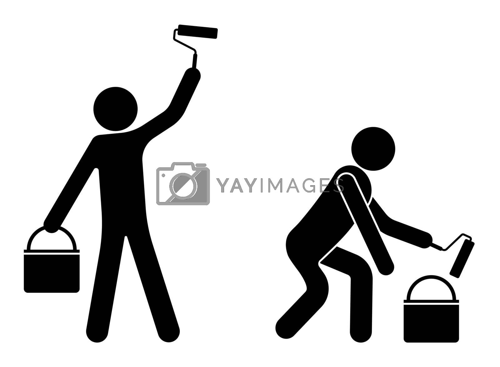 Icon, people paint a wall with a roller, repair of building facades. The work of builders. Isolated vector on white background