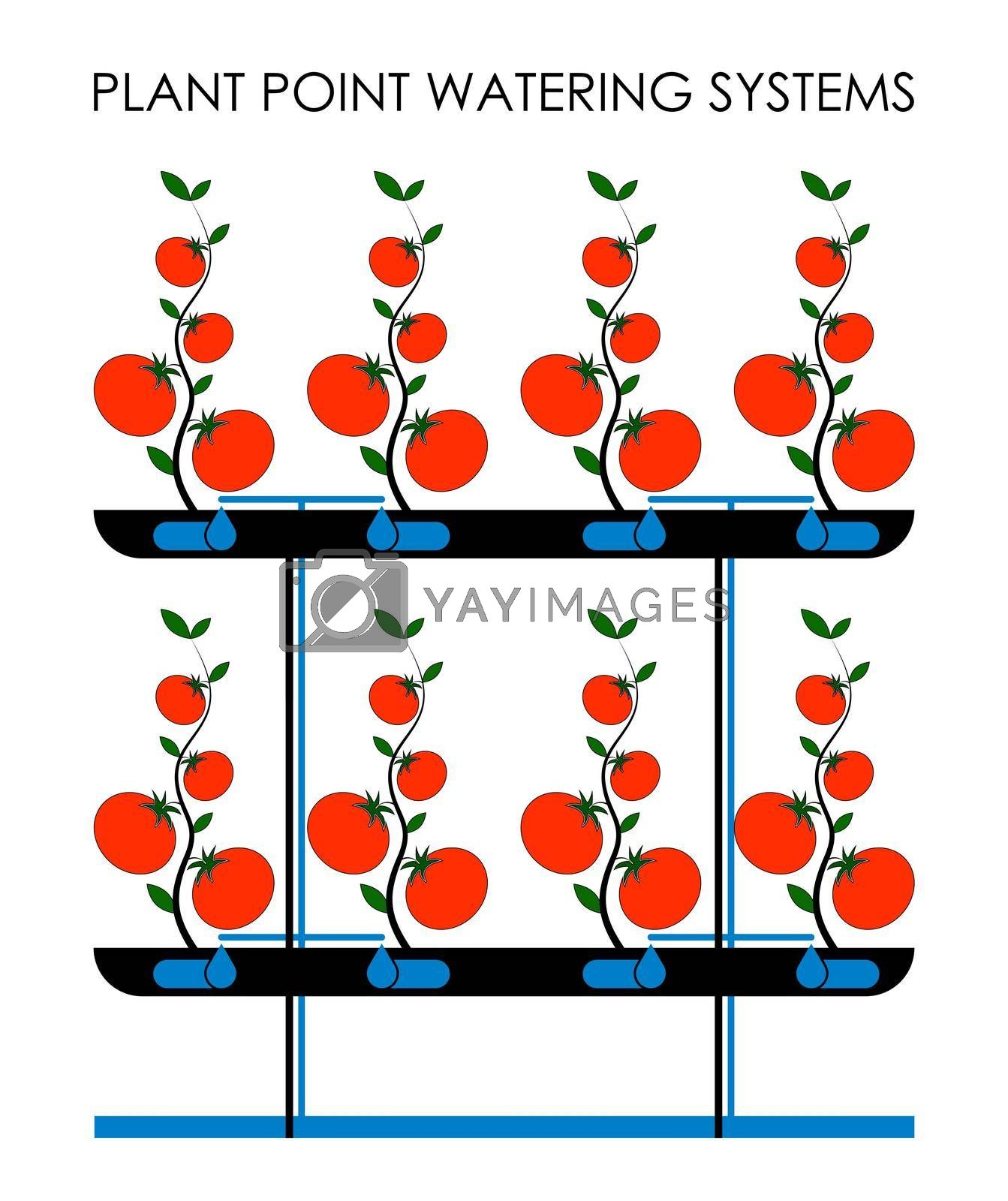 system of spot irrigation of plants in a greenhouse. Efficient farming, green technology. Isolated vector on white background