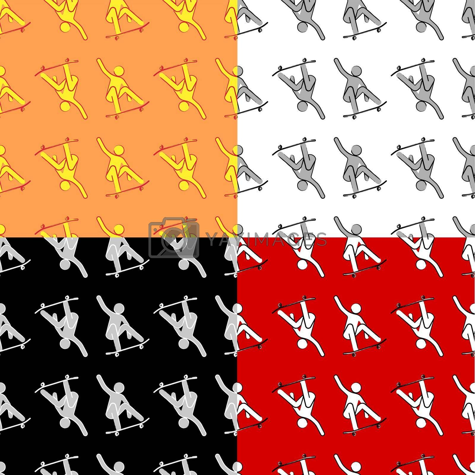 set of seamless yellow-orange summer pattern with a man on a skateboard. Template for textile. Minimalistic vector