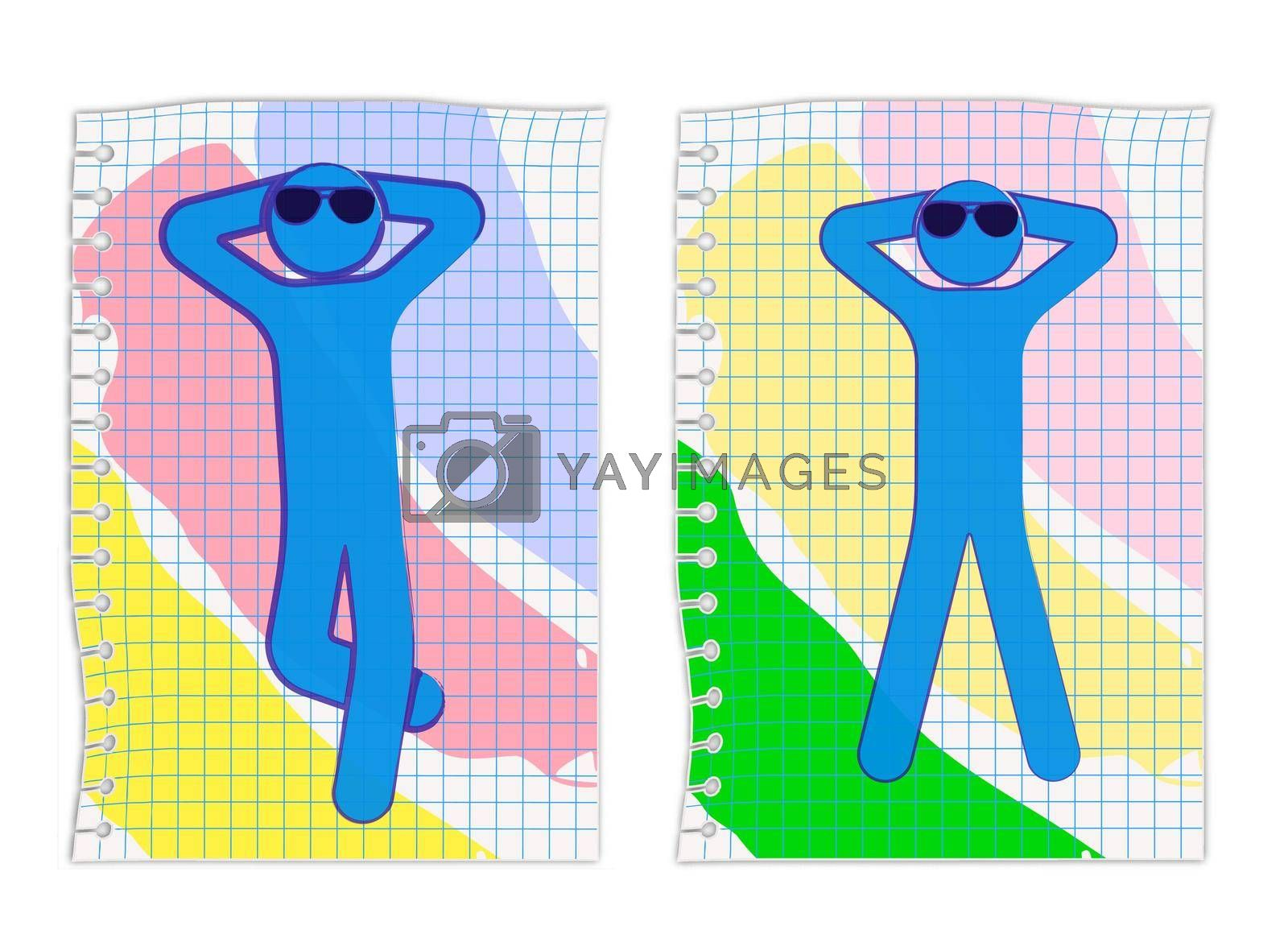 man with glasses lies on a colored towel, takes a sun bath. Summer vacation at sea. Ink drawing on a checkered sheet of paper. Isolated vector on white background