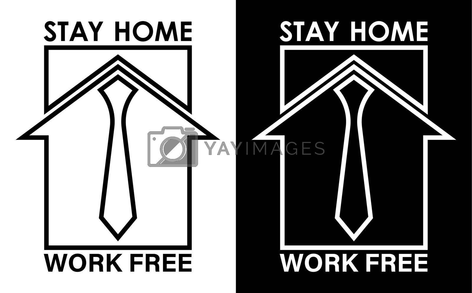 Royalty free image of original logo, icon. Remote work from home during quarantine, stay home. Free work, home business. Isolated vector on white background by RNko