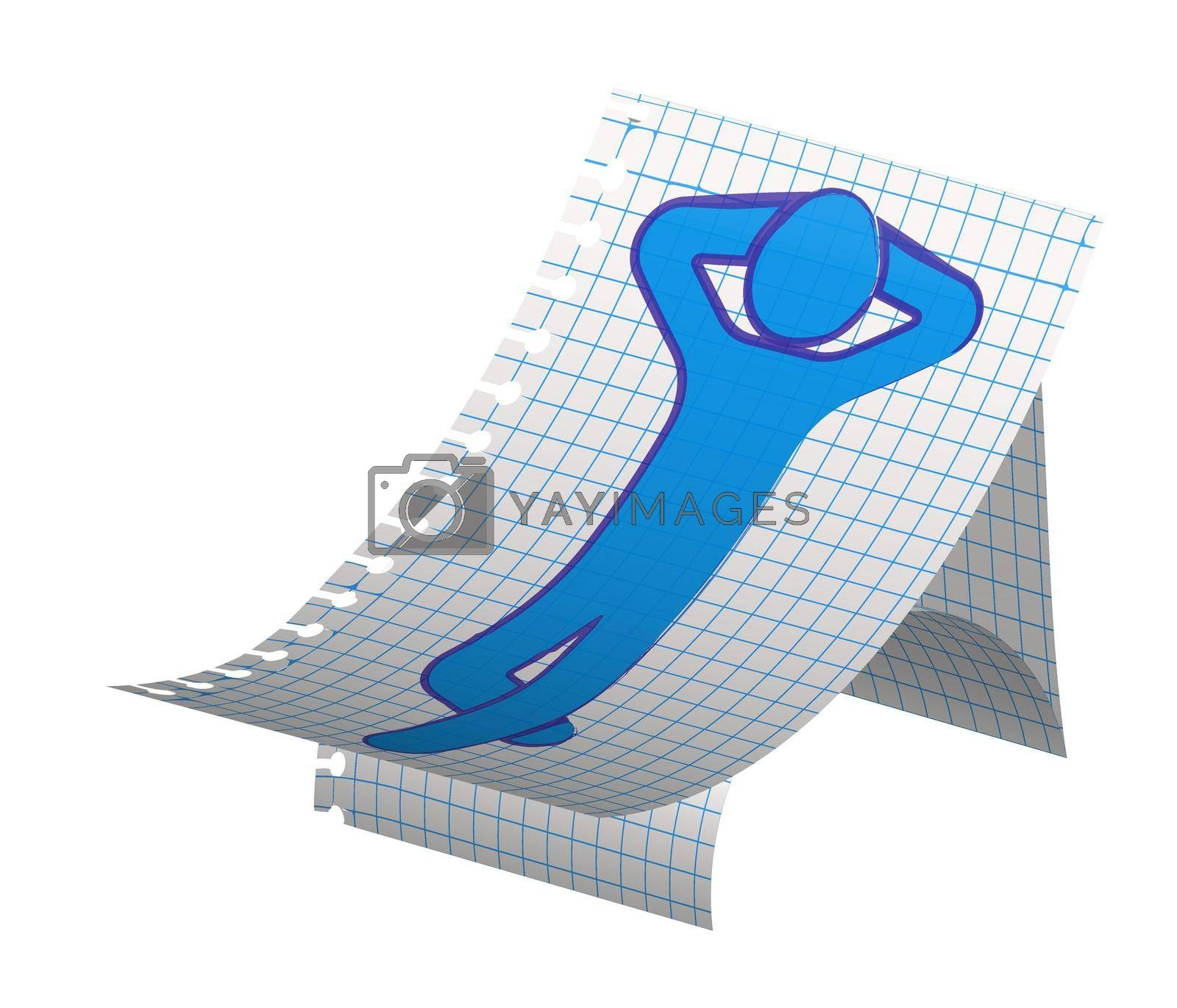 Royalty free image of man lies on a beach chair, takes sunbathing. Summer vacation at sea. Drawing with ink on a checkered paper sheet. Isolated vector on white background by RNko