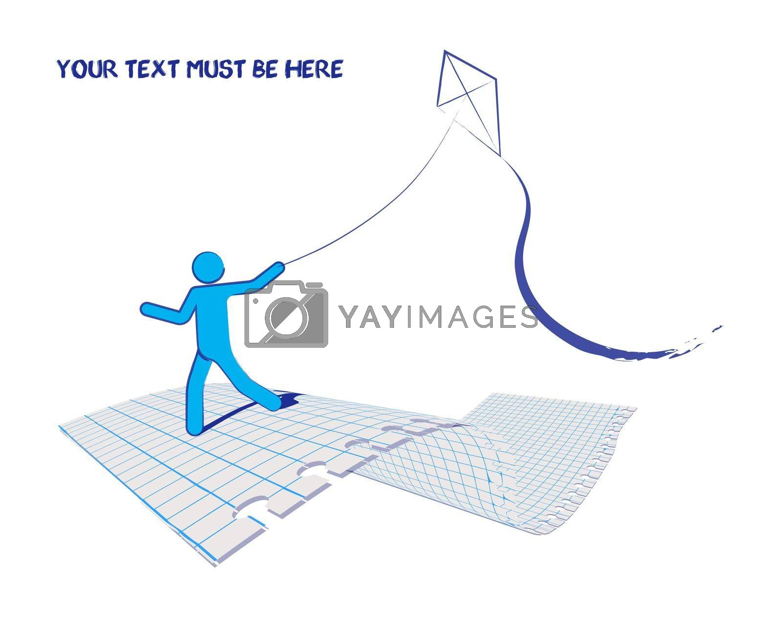 Royalty free image of man runs controls a kite. Drawn in ink on a piece of checkered paper sheet. Summer games. Isolated vector on white background by RNko