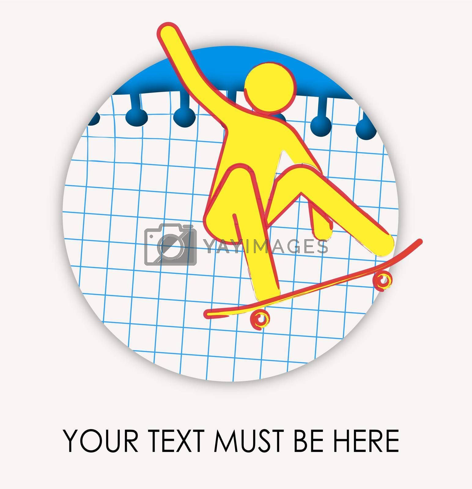 Logo, man on a skateboard performs a trick. Drawing by ink on a checkered sheet. Extreme sport, riding a board. Isolated vector on white background
