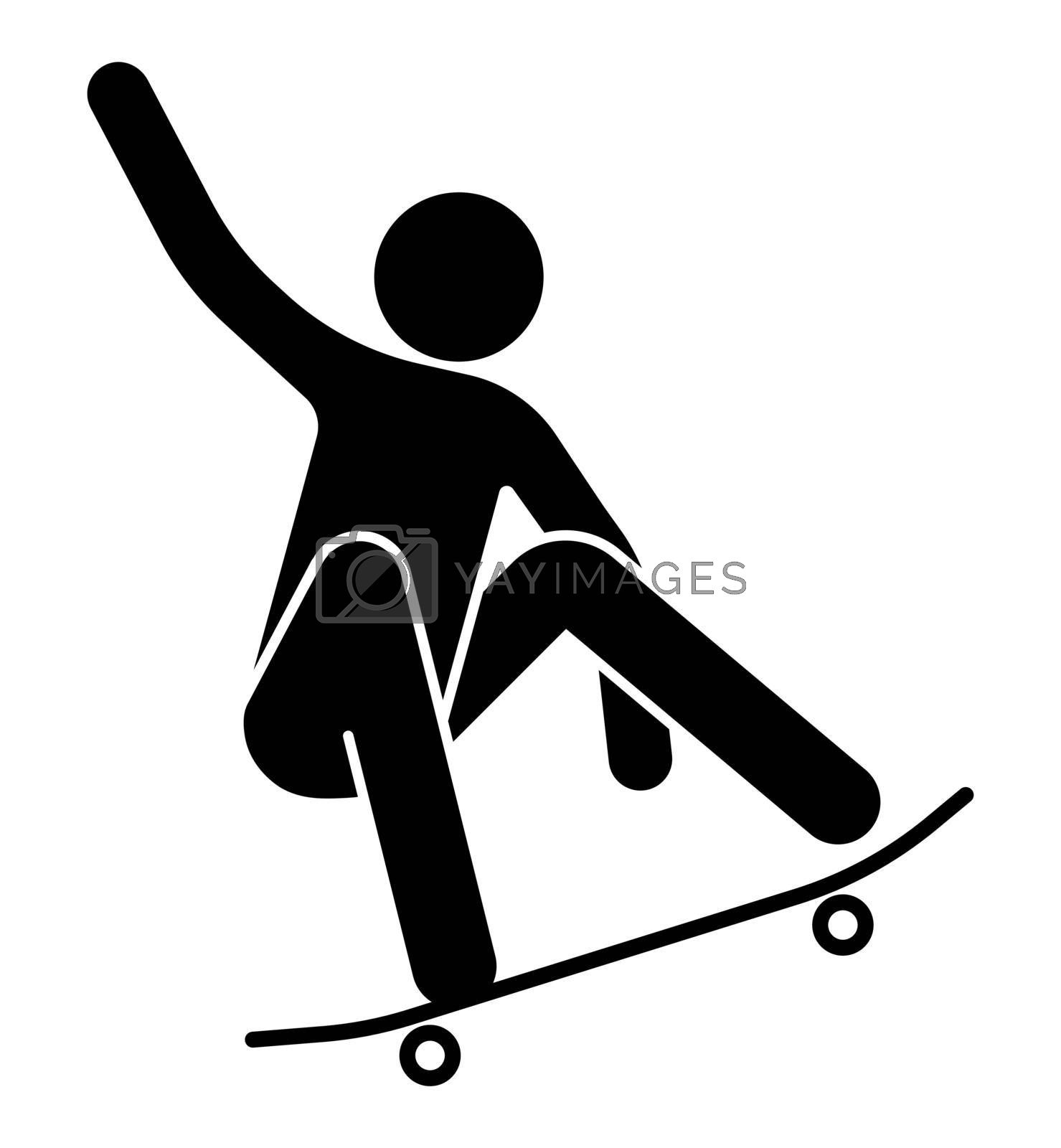 man on a skateboard performs a trick, extreme sport, riding a board. Isolated vector on white background