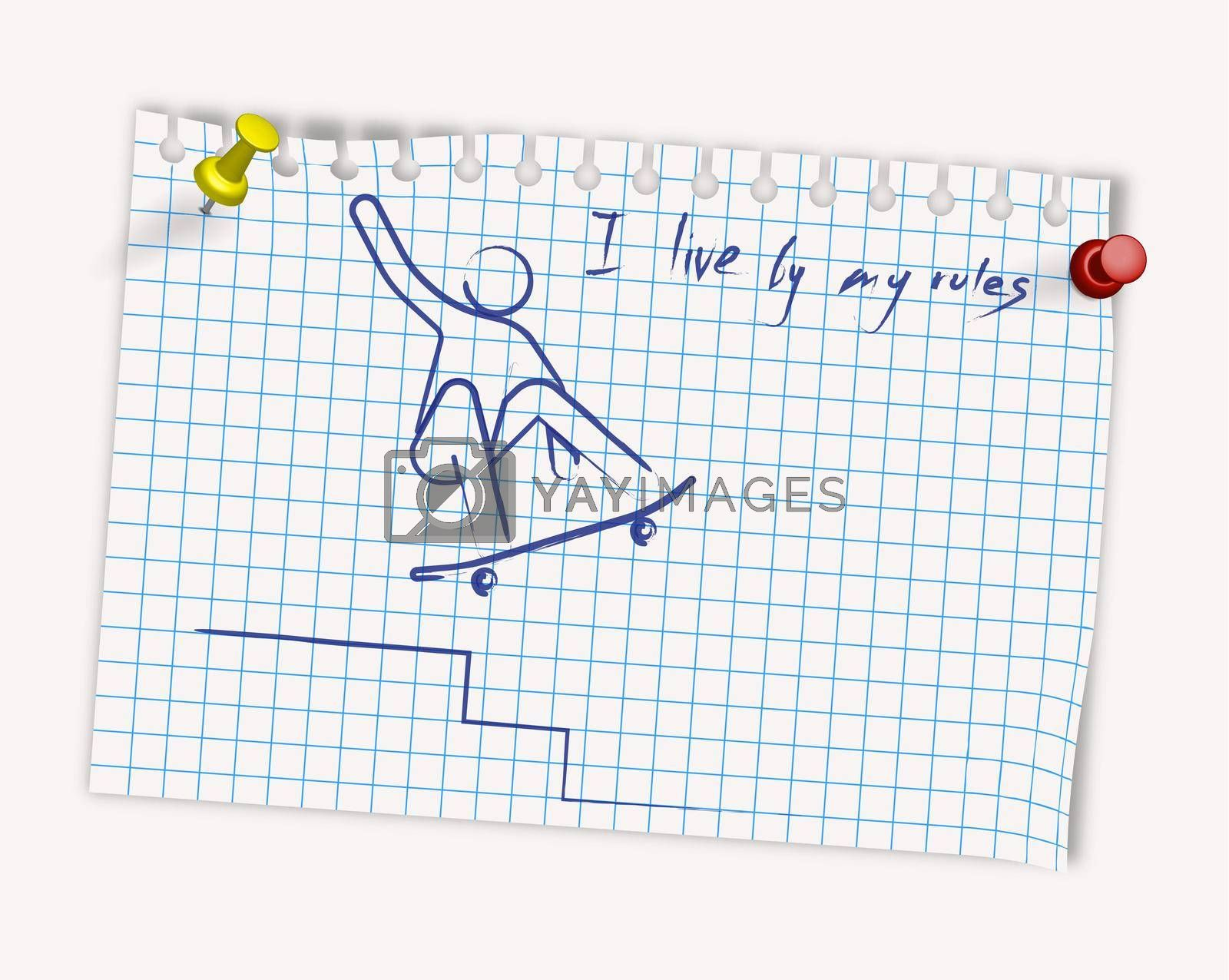 man on a skateboard performs a trick. Drawing in blue ink on a checkered sheet. Extreme sport, riding a board. Isolated vector on white background