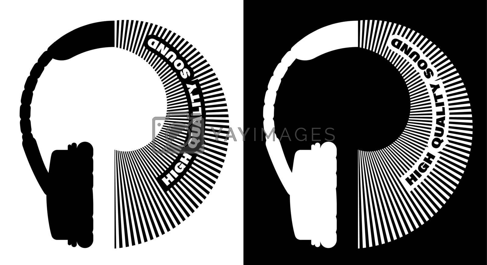 Original black and white logo, overhead headphones with stylized waves of wireless communication. High quality sound. Isolated vector