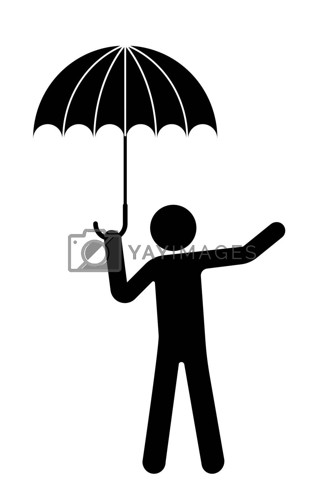 man stands under an umbrella, the rain has ended. The beginning of warm weather. Isolated vector on white background
