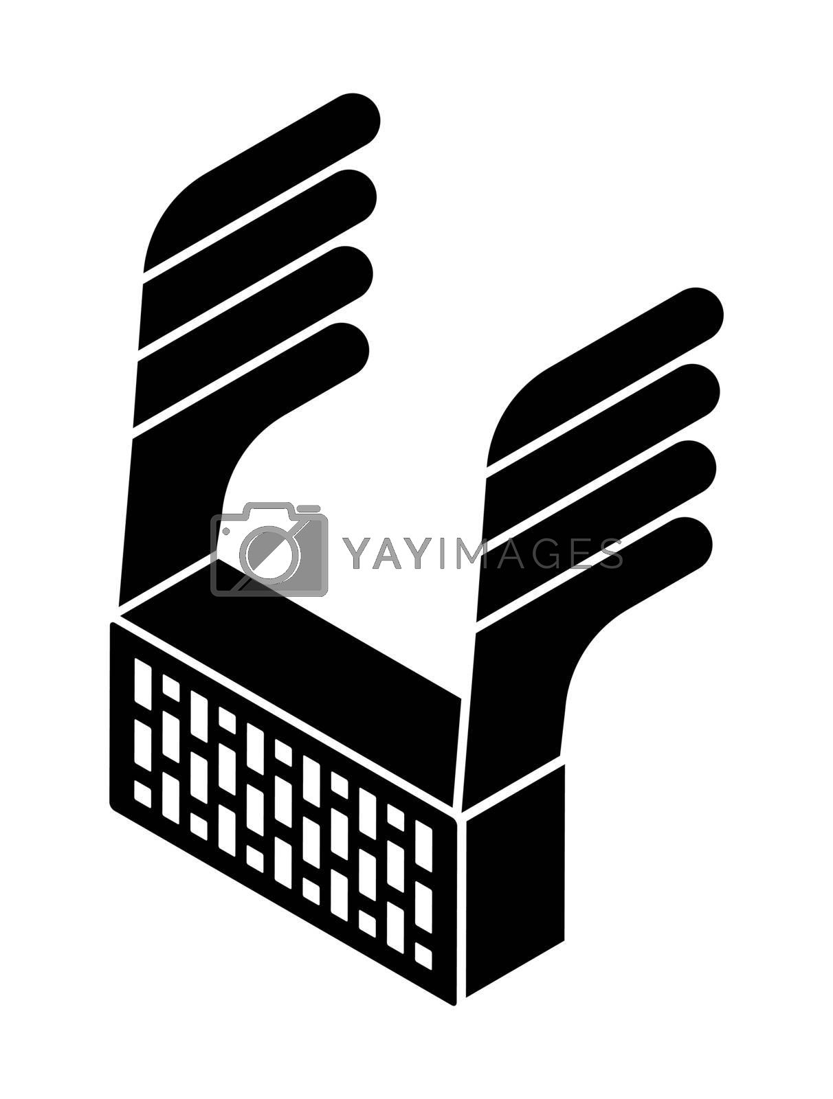 brick icon with wings. Heavy objects falling. Isolated vector on white background