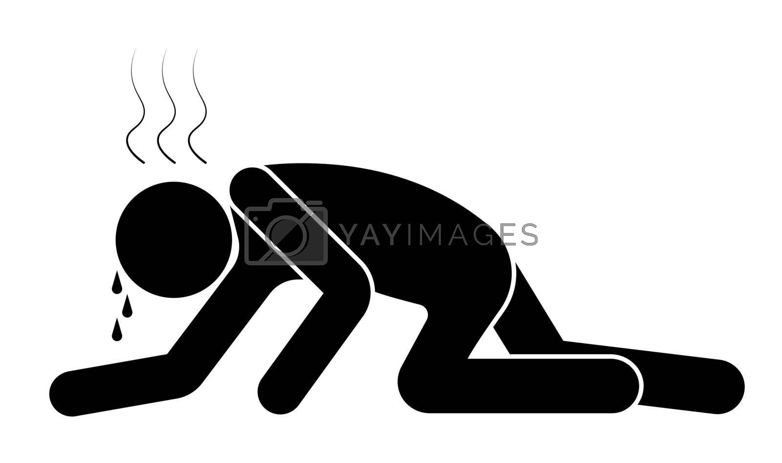 tourist or traveler creeping or crawling on the hot sand desert on Sun. Isolated vector on white background
